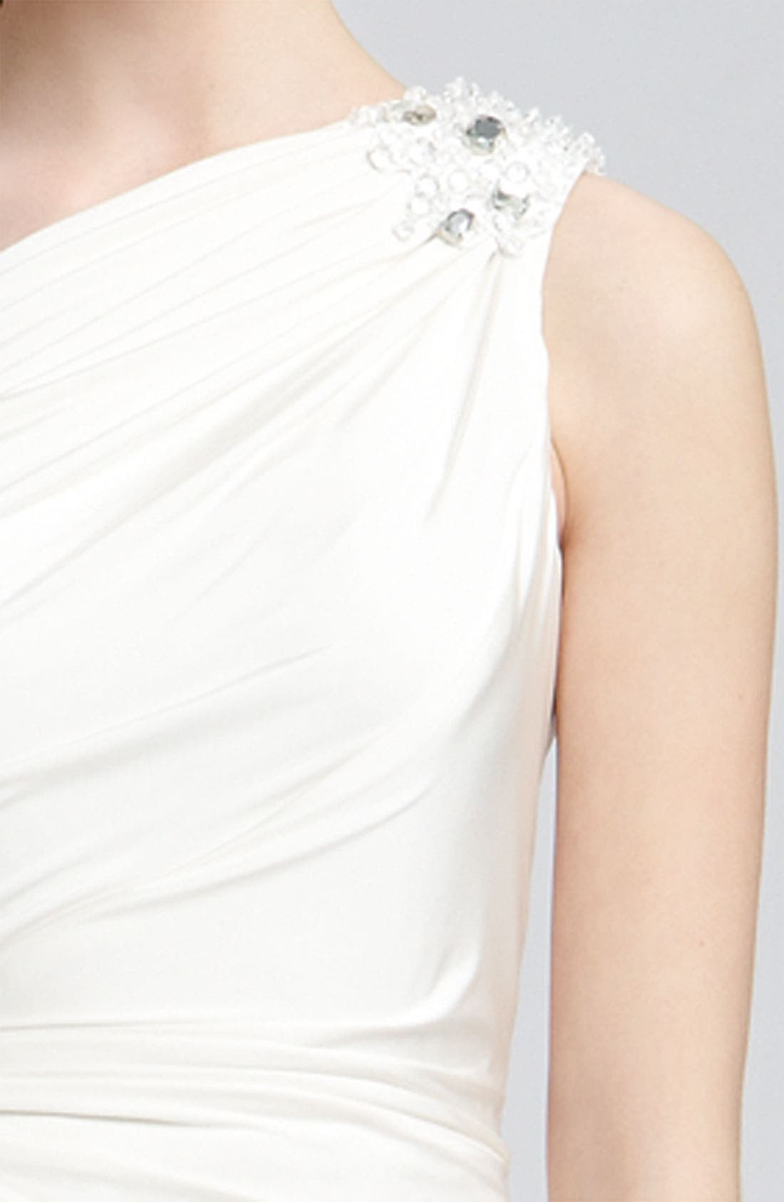 TADASHI SHOJI, Beaded Jersey One Shoulder Gown, Alternate thumbnail 2, color, 900