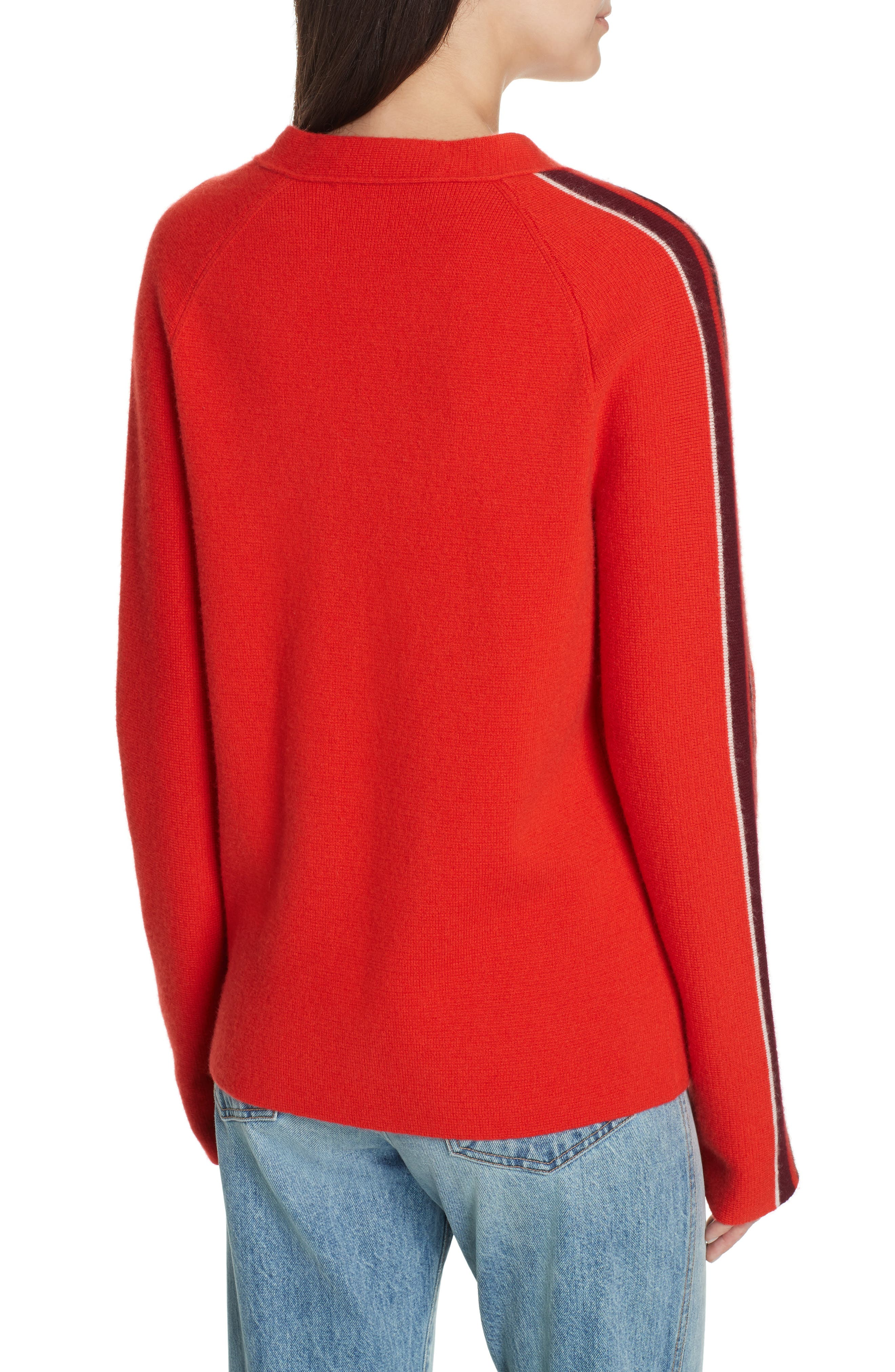 PROENZA SCHOULER, PSWL Stripe Sleeve Merino Wool & Cashmere Cardigan, Alternate thumbnail 2, color, RED COMBO