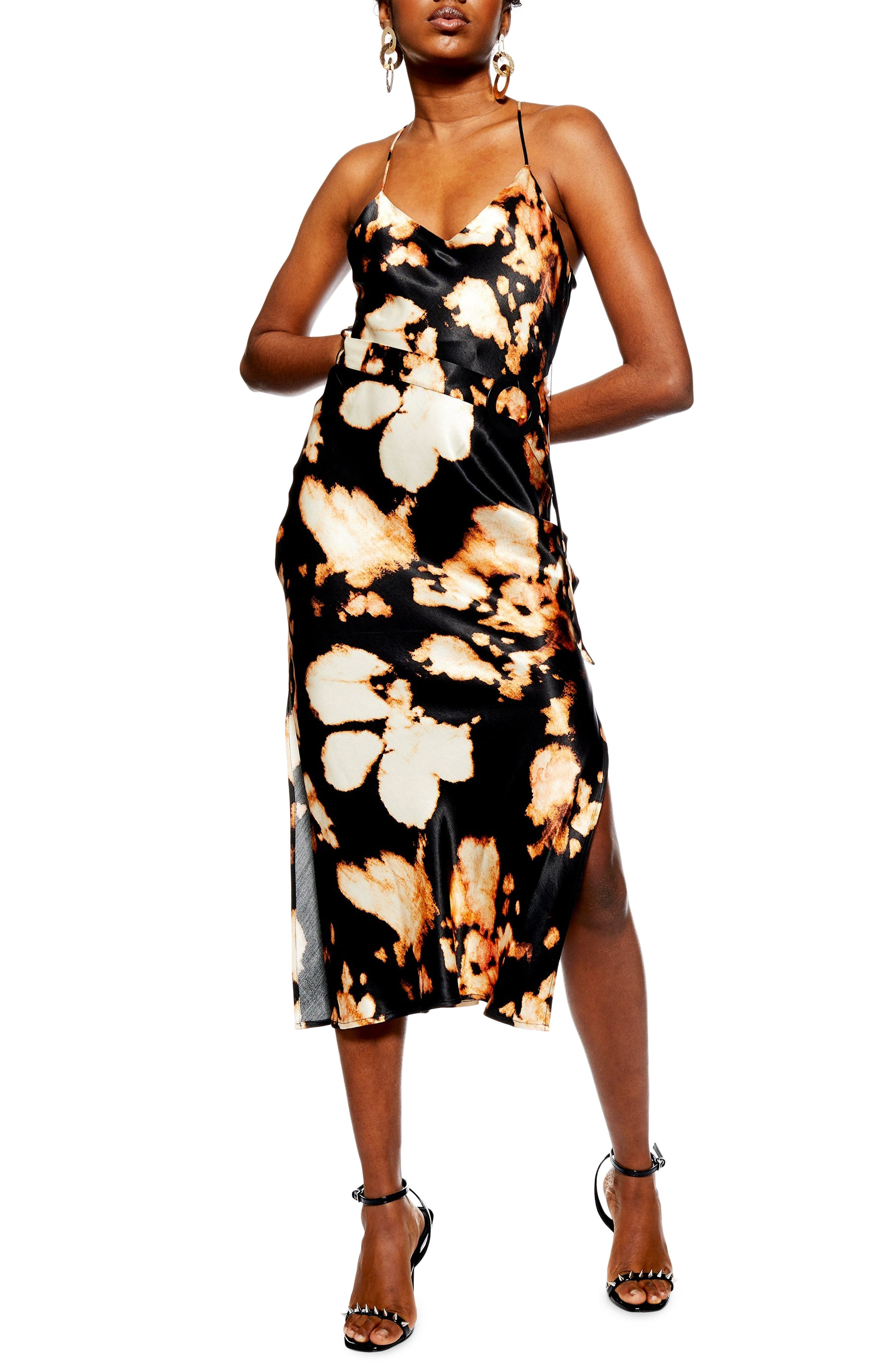 TOPSHOP, Tie Dye Belted Slipdress, Main thumbnail 1, color, BLACK MULTI