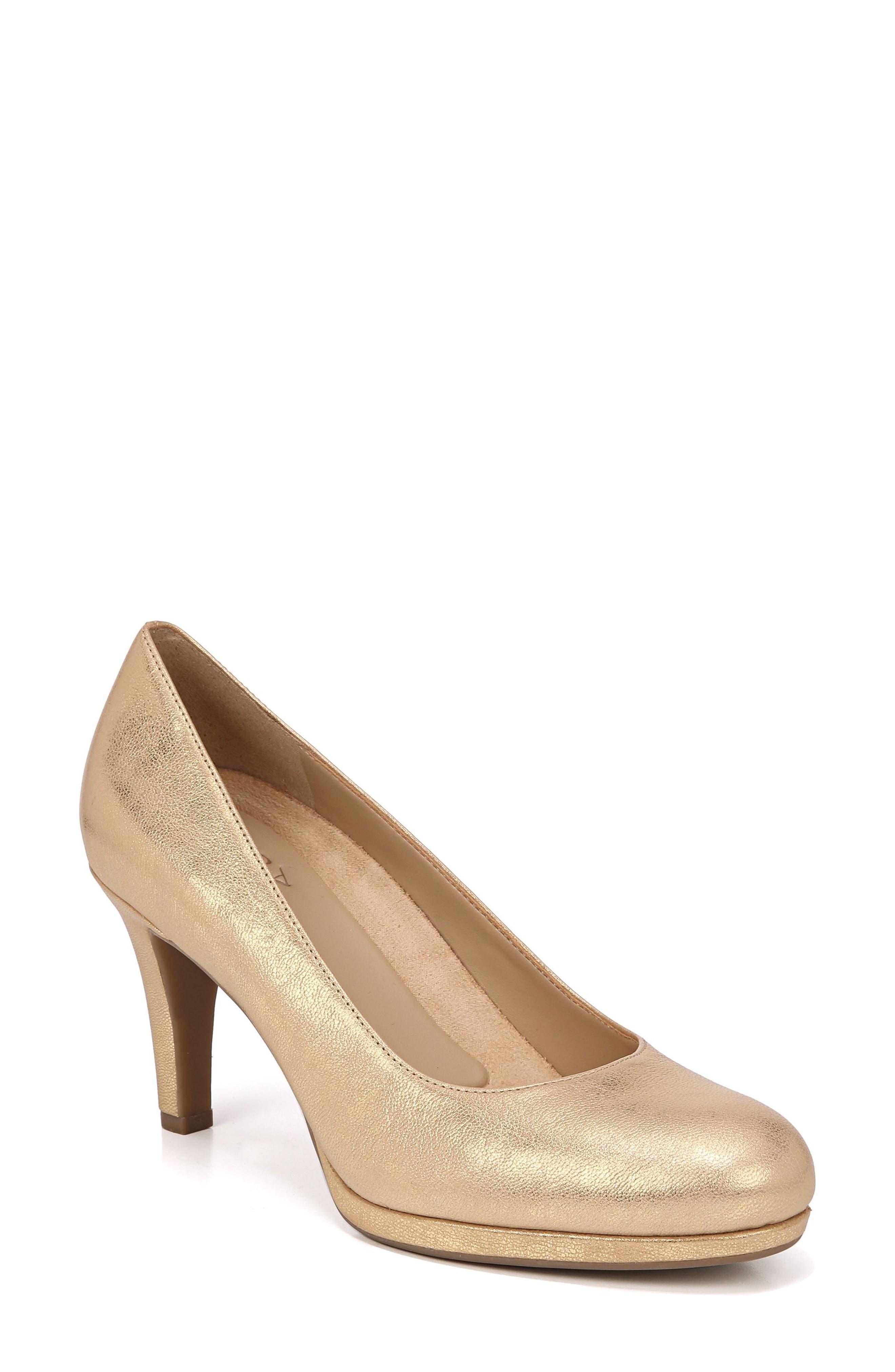 NATURALIZER 'Michelle' Almond Toe Pump, Main, color, GOLD LEATHER