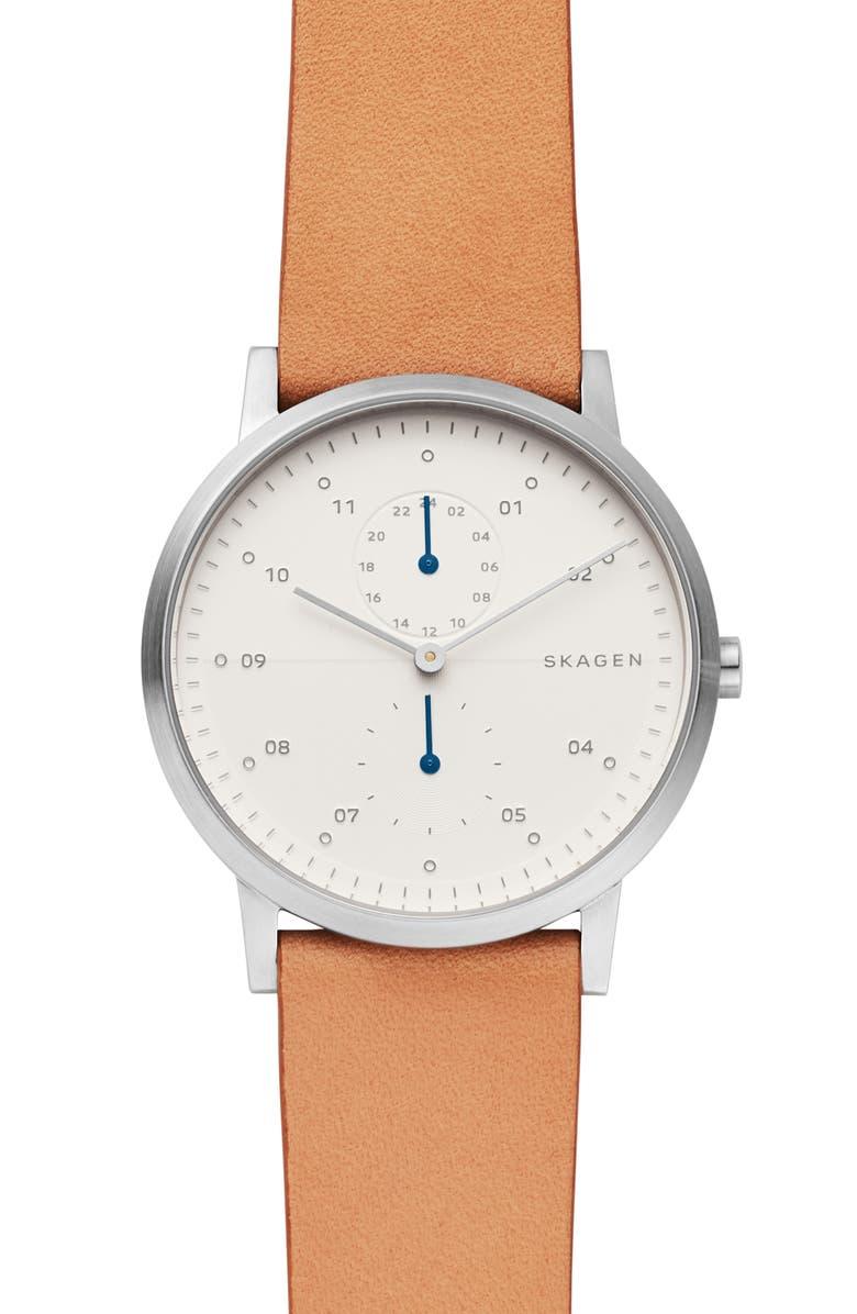 Skagen Watches DESIGNS KRISTOFFER MULTIFUNCTION LEATHER STRAP WATCH, 42MM