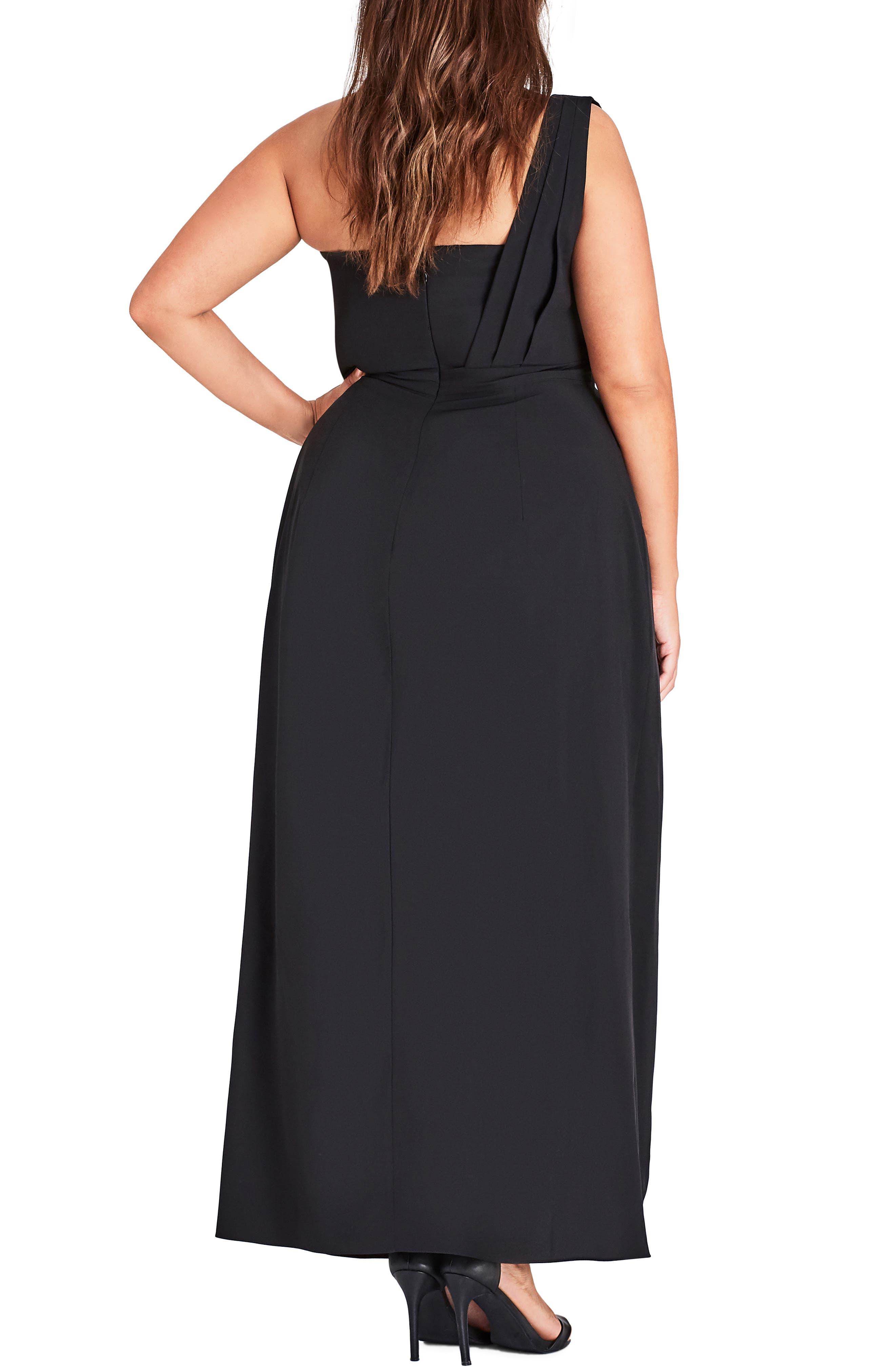 CITY CHIC, Allure One-Shoulder Maxi Dress, Alternate thumbnail 2, color, BLACK