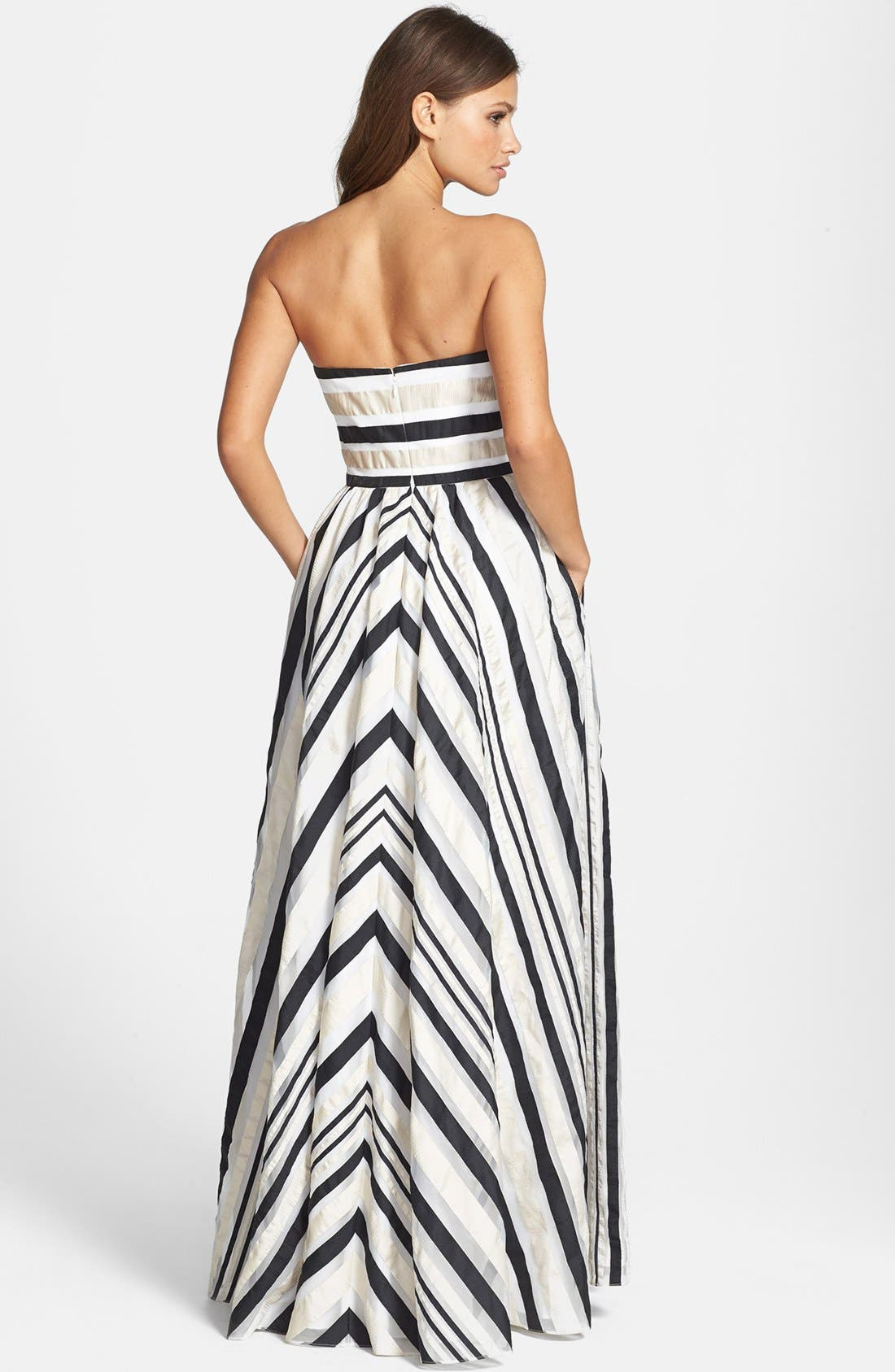 ADRIANNA PAPELL, Ribbon Stripe Strapless Dress, Alternate thumbnail 2, color, 001