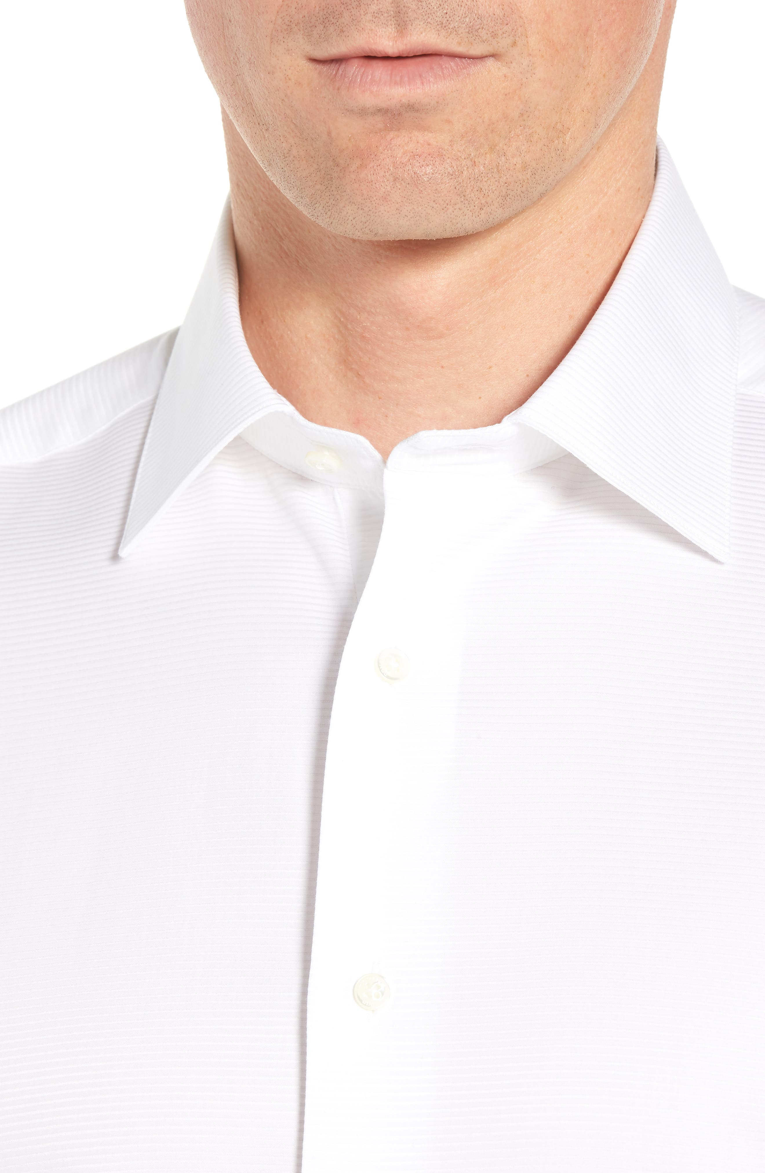 DAVID DONAHUE, Horizontal Twill Regular Fit Tuxedo Shirt, Alternate thumbnail 2, color, WHITE