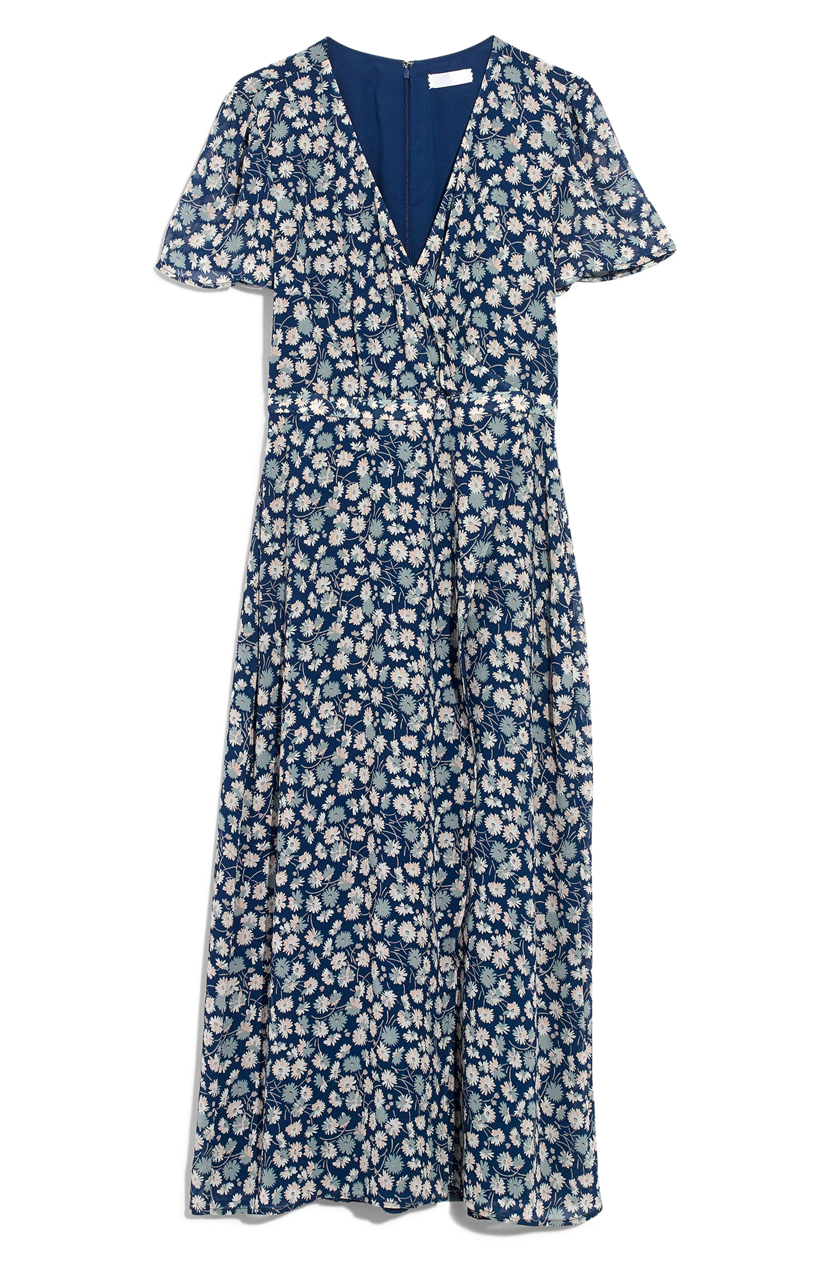 MADEWELL, Floral Wrap Front Midi Dress, Alternate thumbnail 3, color, 400