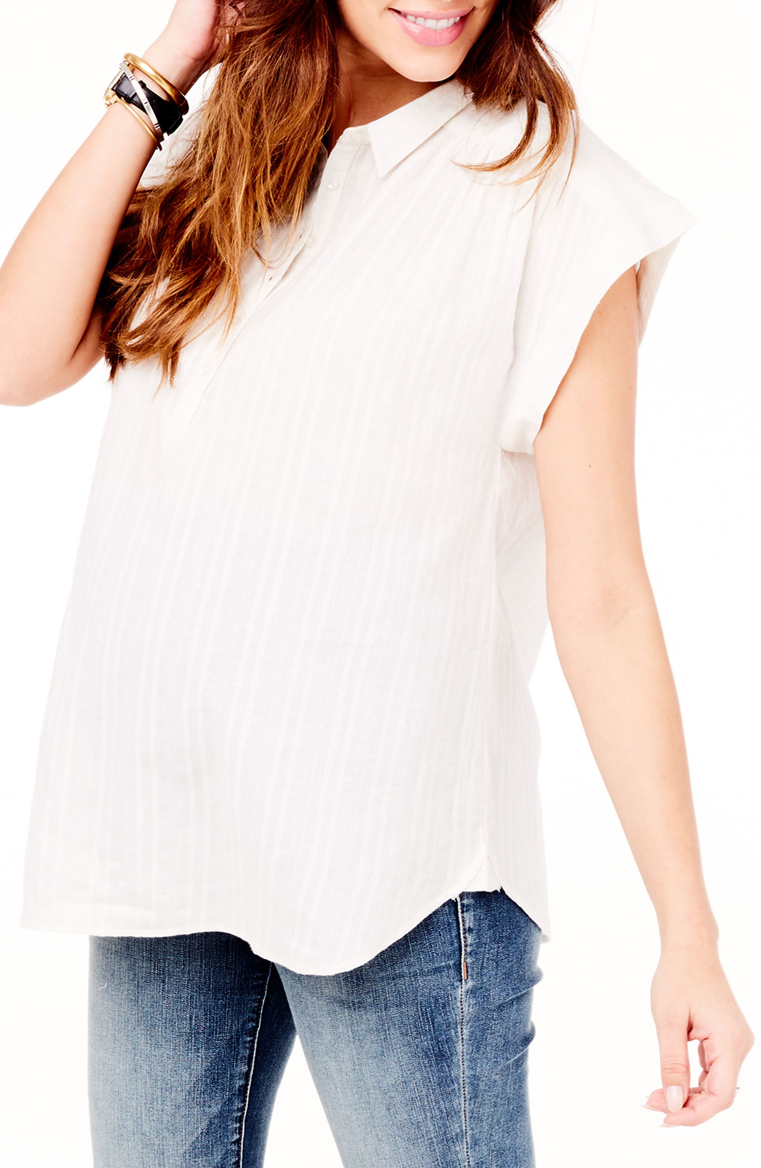 INGRID & ISABEL<SUP>®</SUP>, Boxy Maternity Top, Alternate thumbnail 3, color, WHITE