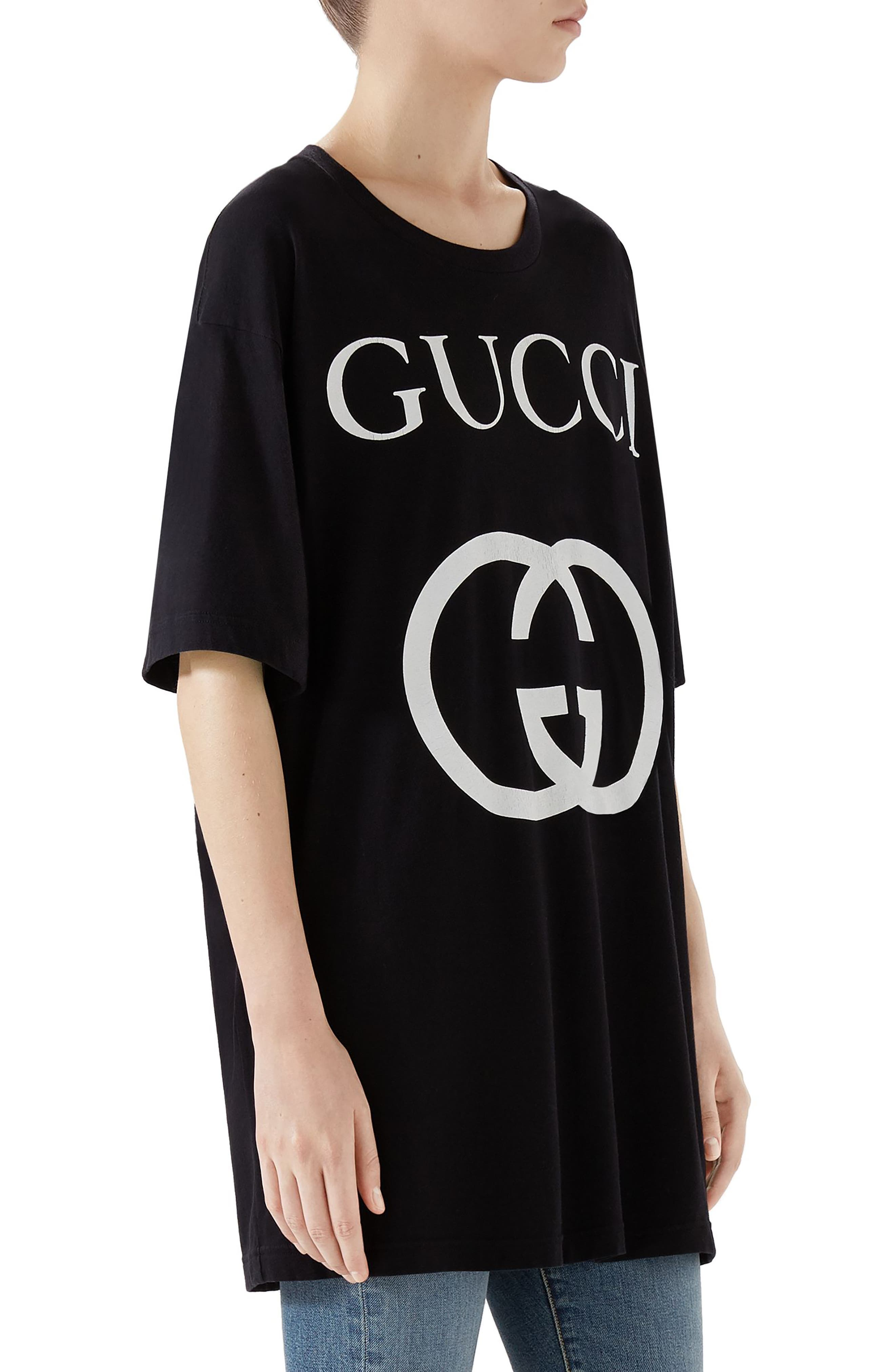 GUCCI, GG Interlock Tee, Alternate thumbnail 3, color, BLACK