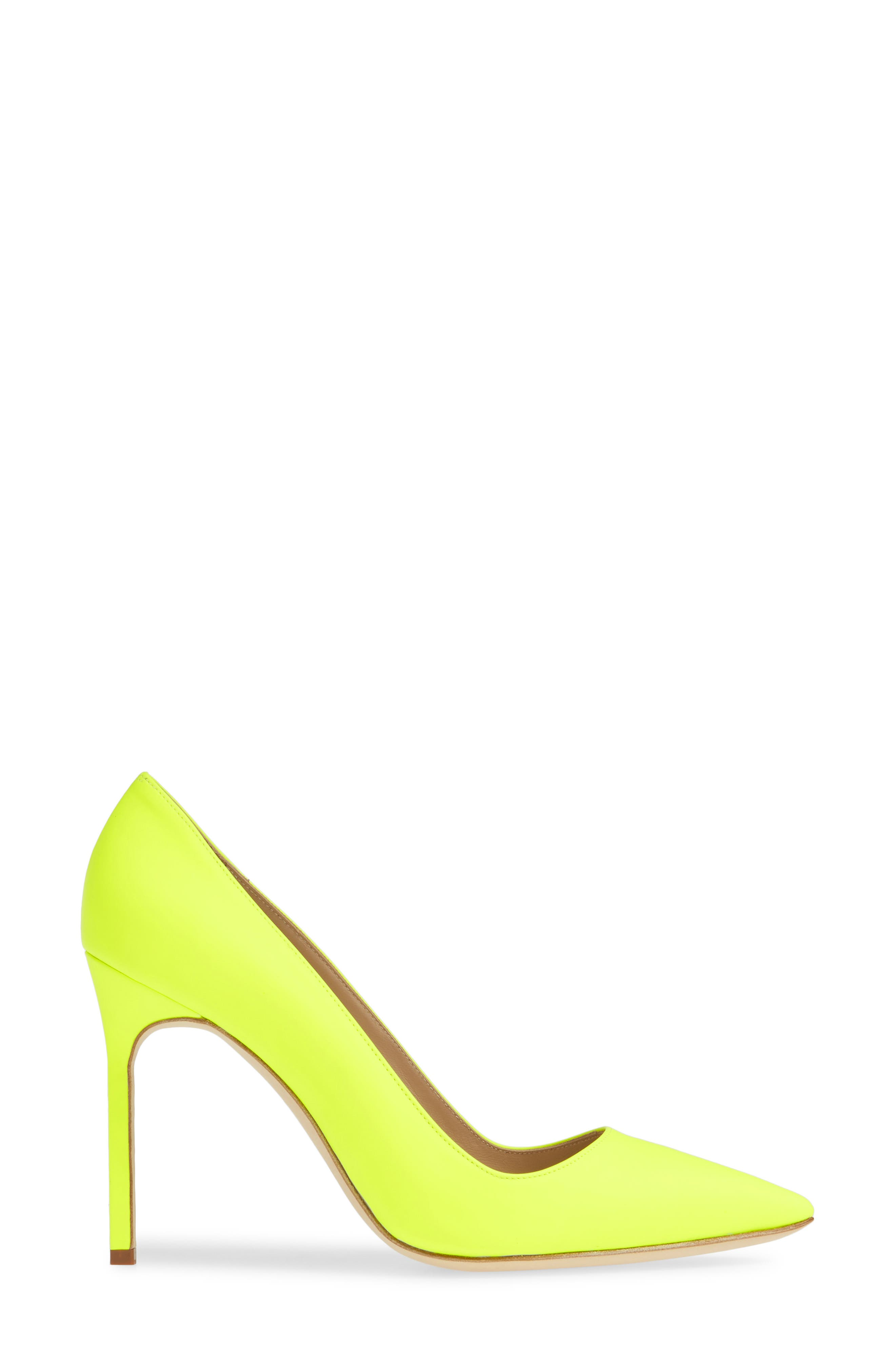 MANOLO BLAHNIK, 'BB' Pointy Toe Pump, Alternate thumbnail 3, color, YELLOW PATENT