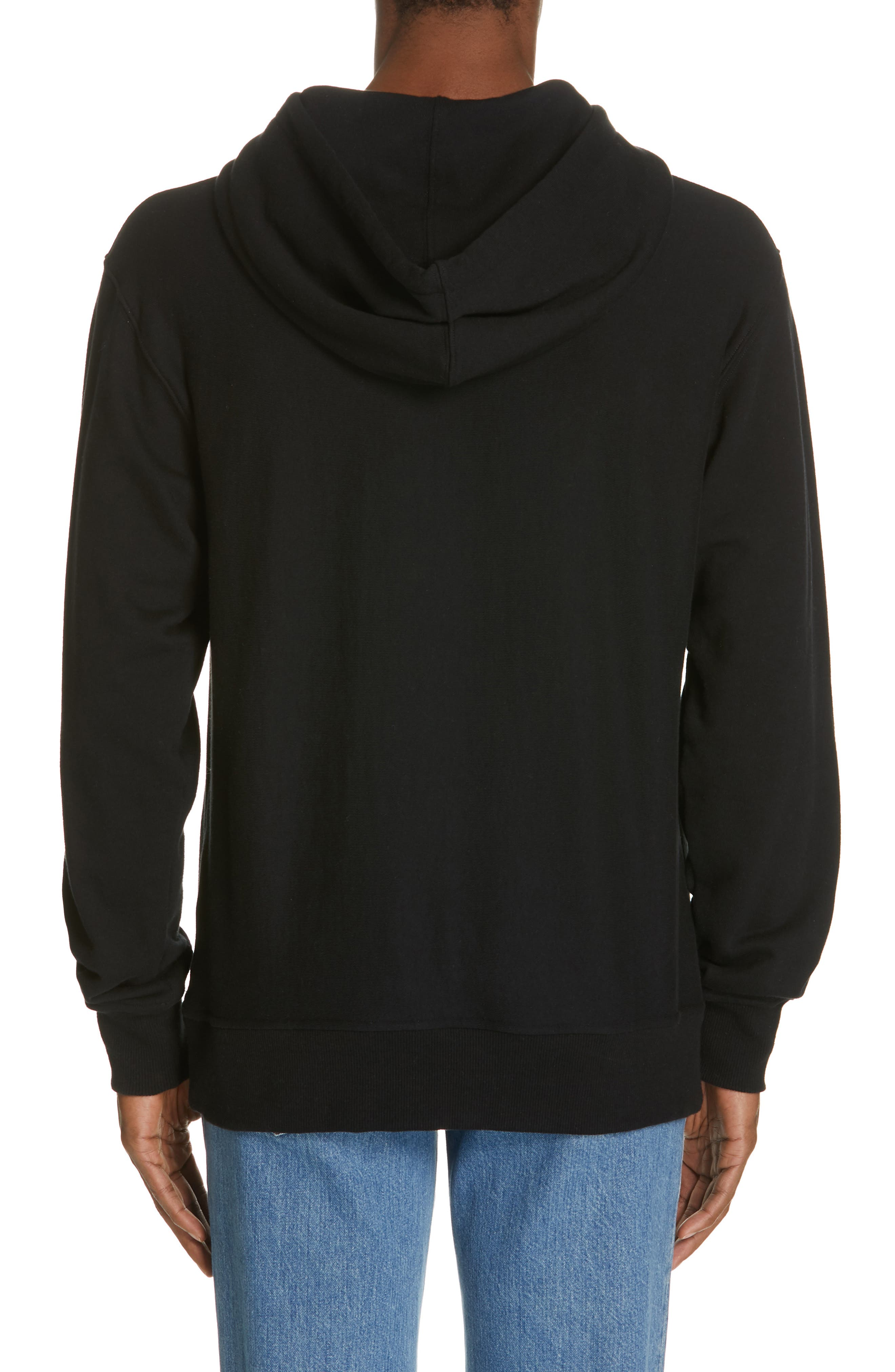 CALVIN KLEIN 205W39NYC, Jaws Graphic Hoodie, Alternate thumbnail 2, color, BLACK