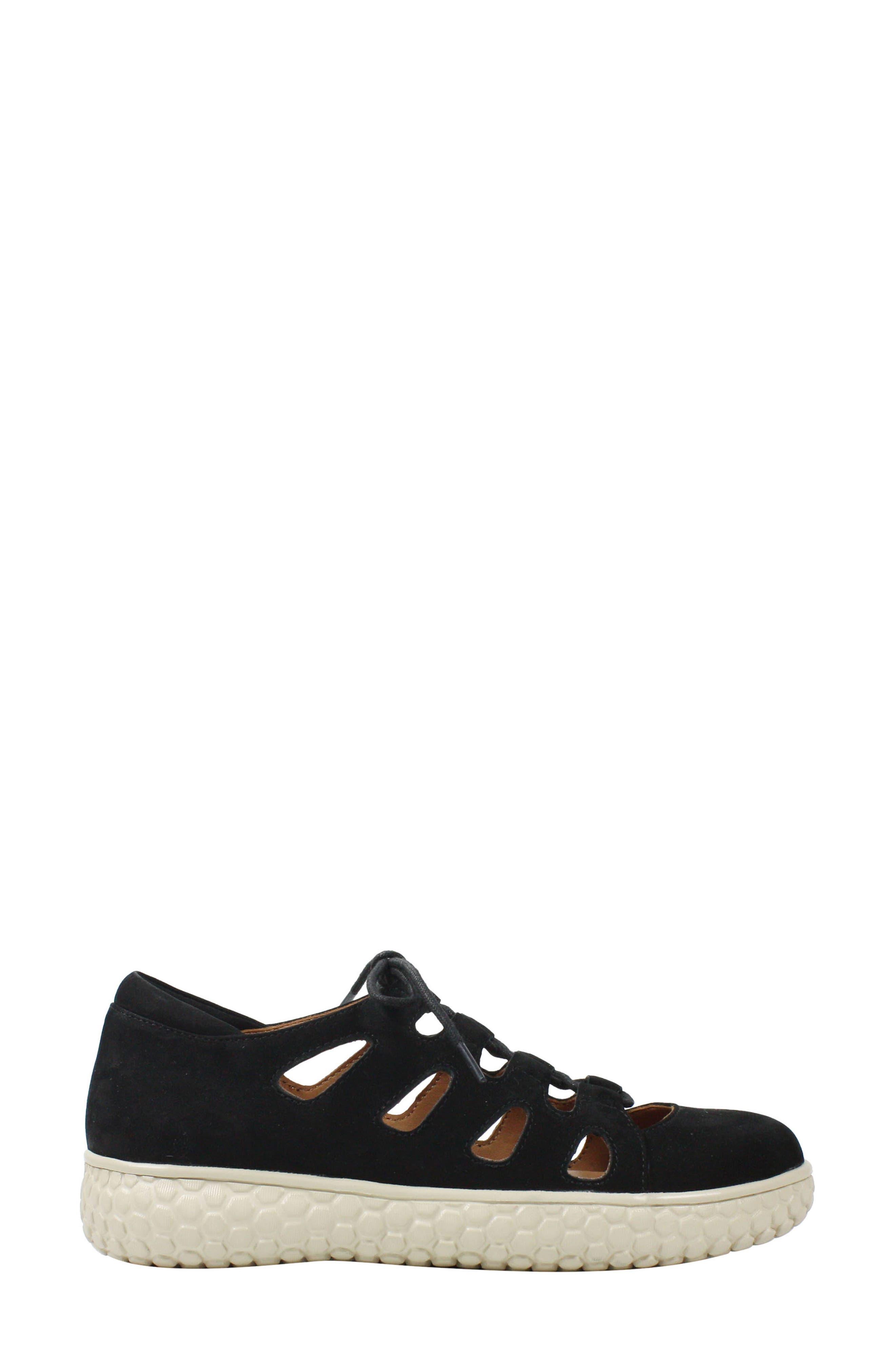 L'AMOUR DES PIEDS, Zarah Lace-Up Flat, Alternate thumbnail 3, color, BLACK NUBUCK LEATHER