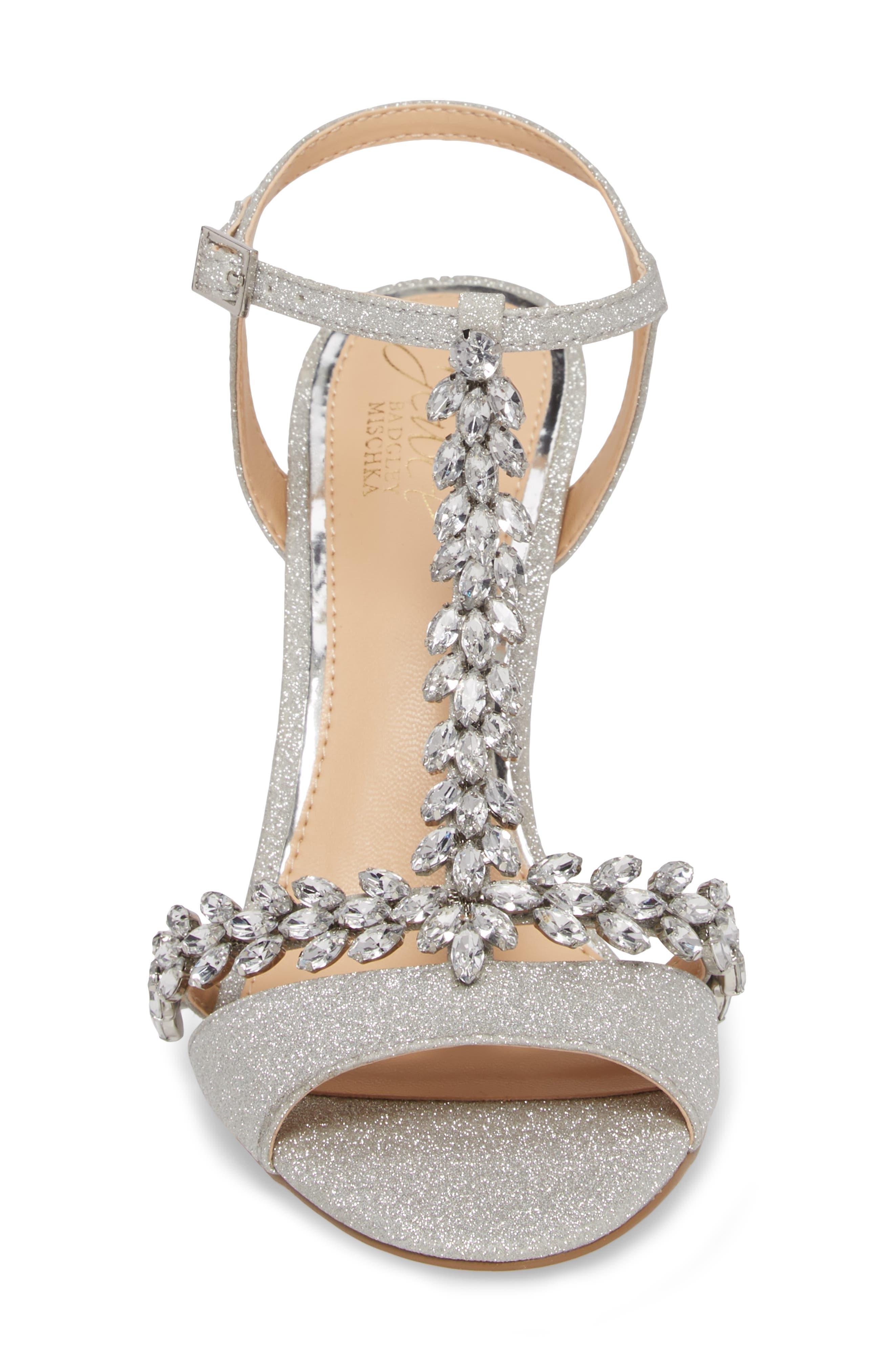 JEWEL BADGLEY MISCHKA, Maxi Crystal Embellished Sandal, Alternate thumbnail 4, color, SILVER GLITTER FABRIC