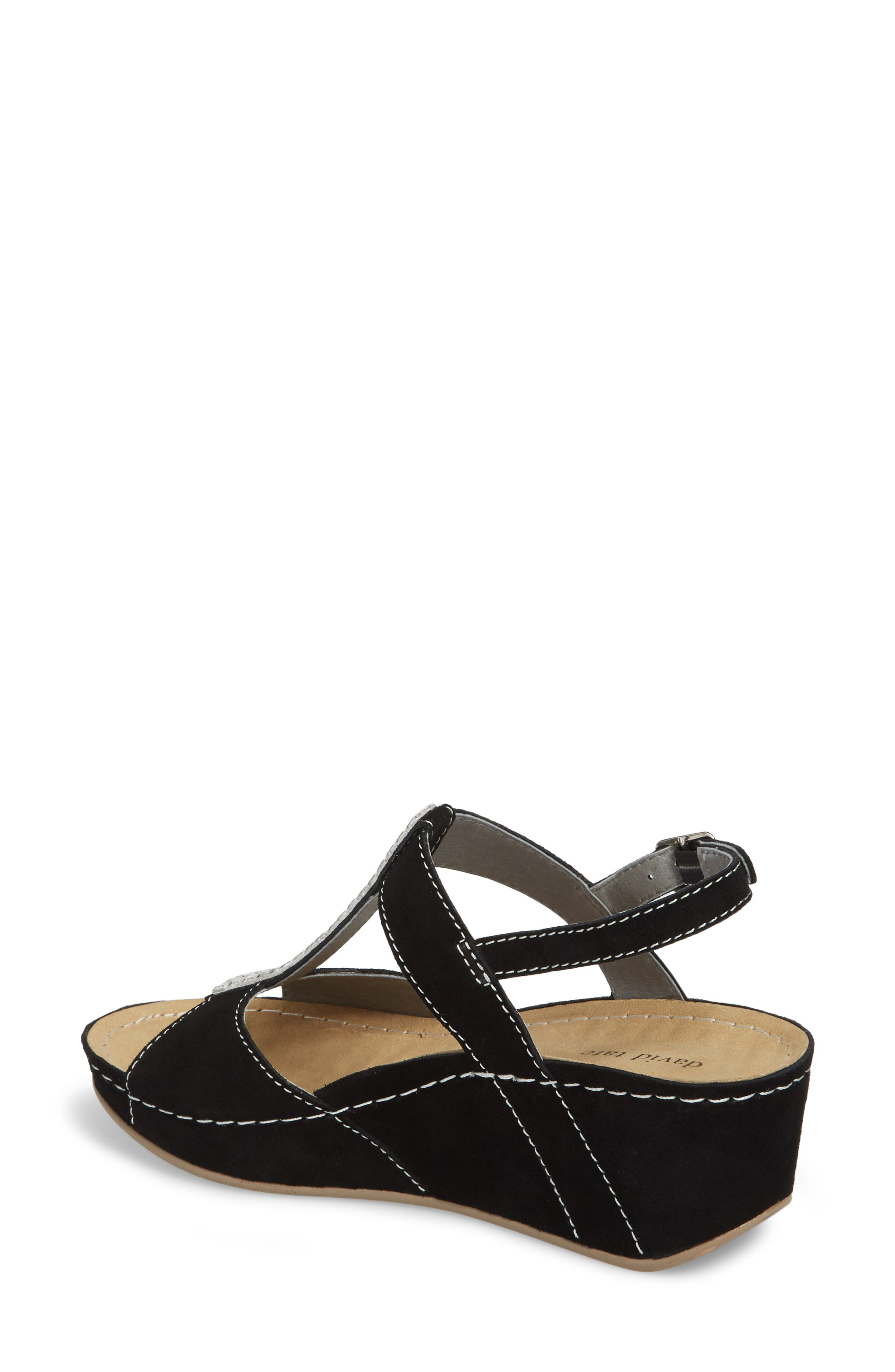 DAVID TATE, Bubbly Embellished T-Strap Wedge Sandal, Alternate thumbnail 2, color, BLACK SUEDE