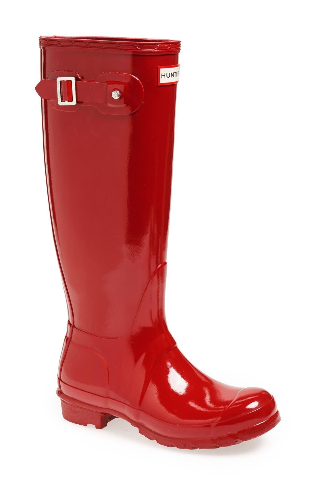HUNTER, Original High Gloss Waterproof Boot, Main thumbnail 1, color, MILITARY RED