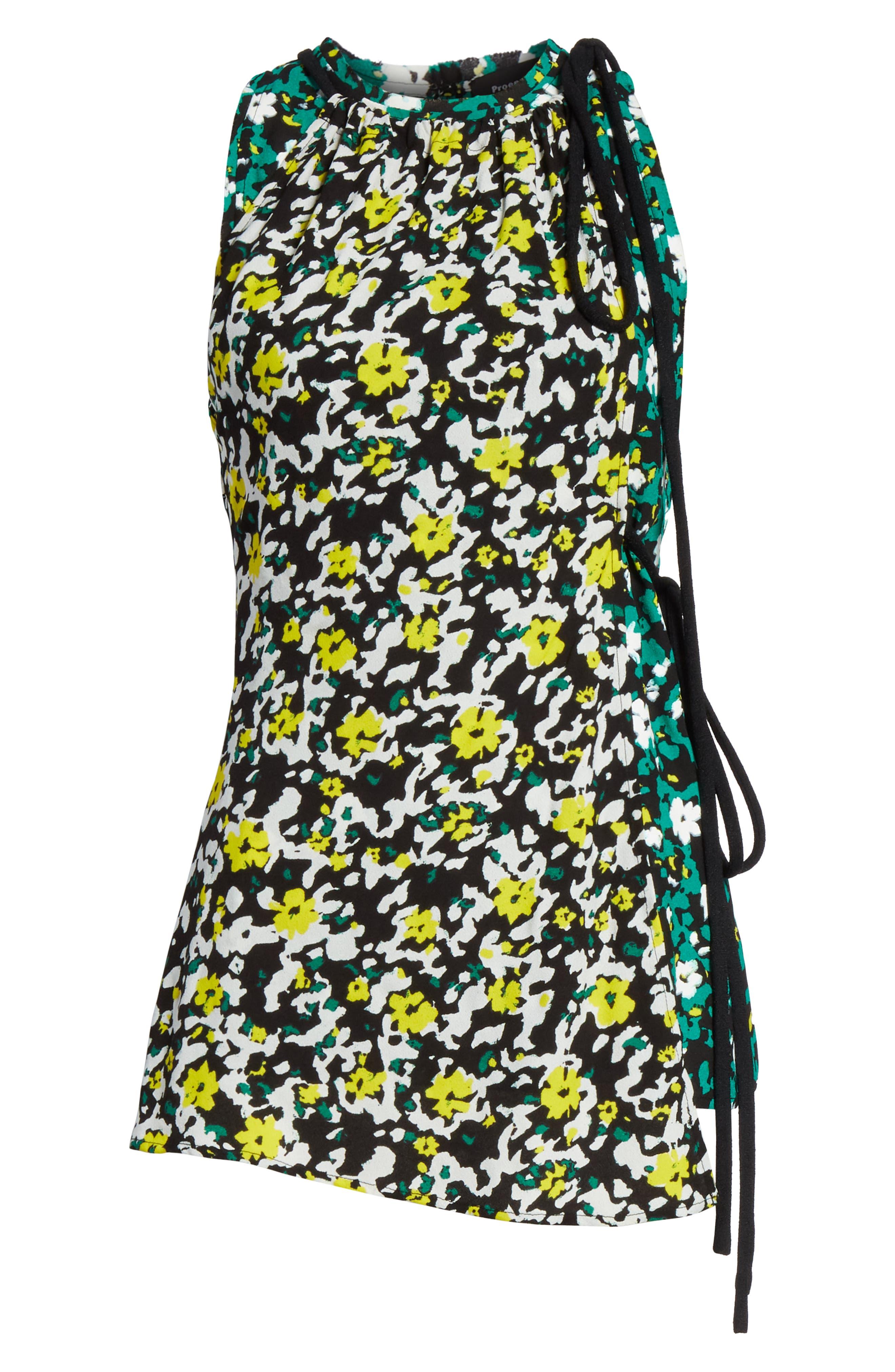 PROENZA SCHOULER, Side Tie Floral Print Blouse, Alternate thumbnail 6, color, WHITE WILDFLOWER