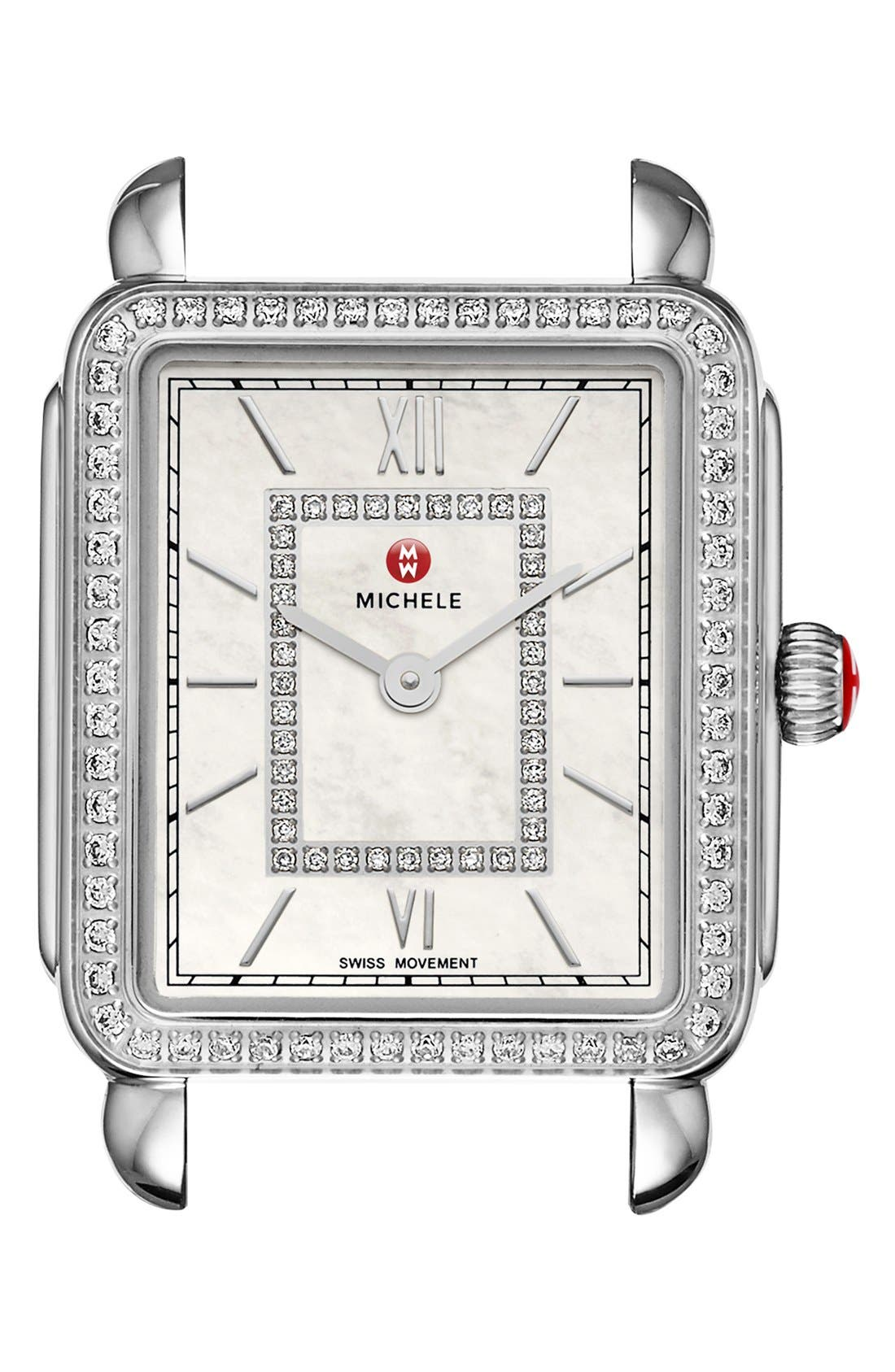 MICHELE, Deco II Diamond Dial Watch Case, 26mm x 28mm, Main thumbnail 1, color, SILVER