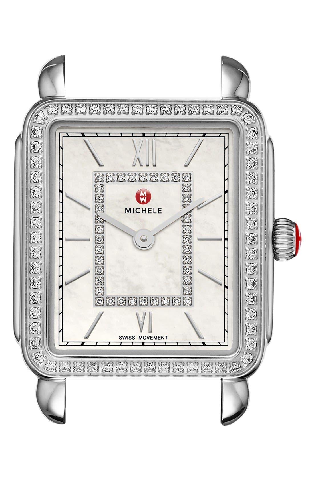 MICHELE Deco II Diamond Dial Watch Case, 26mm x 28mm, Main, color, SILVER