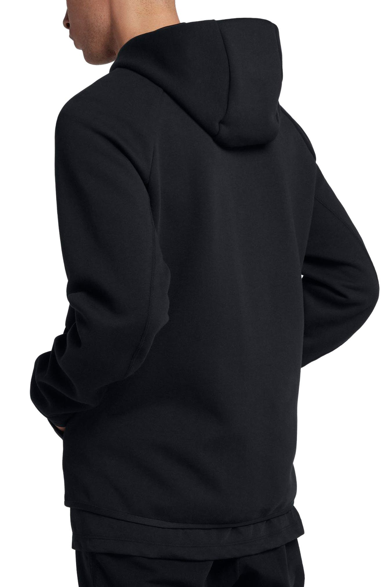 NIKE, Sportswear Tech Fleece Zip Hoodie, Alternate thumbnail 2, color, BLACK/ BLACK