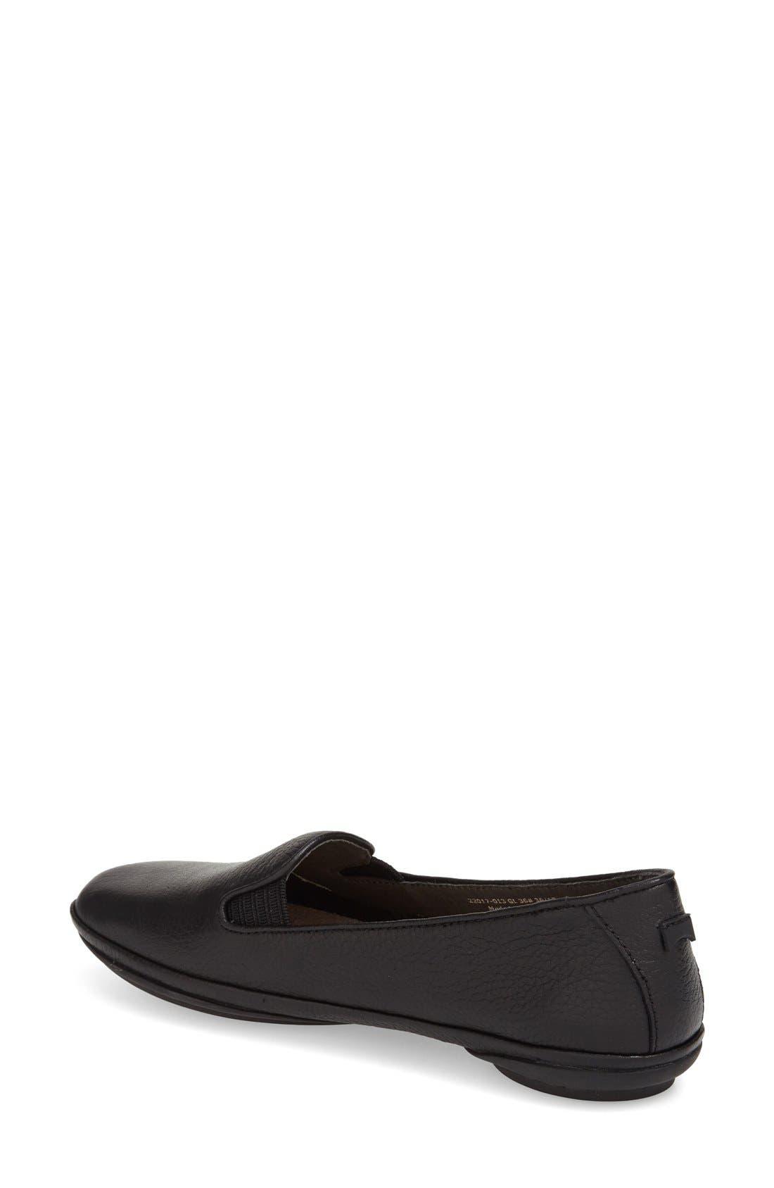 CAMPER, 'Right Nina' Leather Flat, Alternate thumbnail 2, color, BLACK/ BLACK LEATHER
