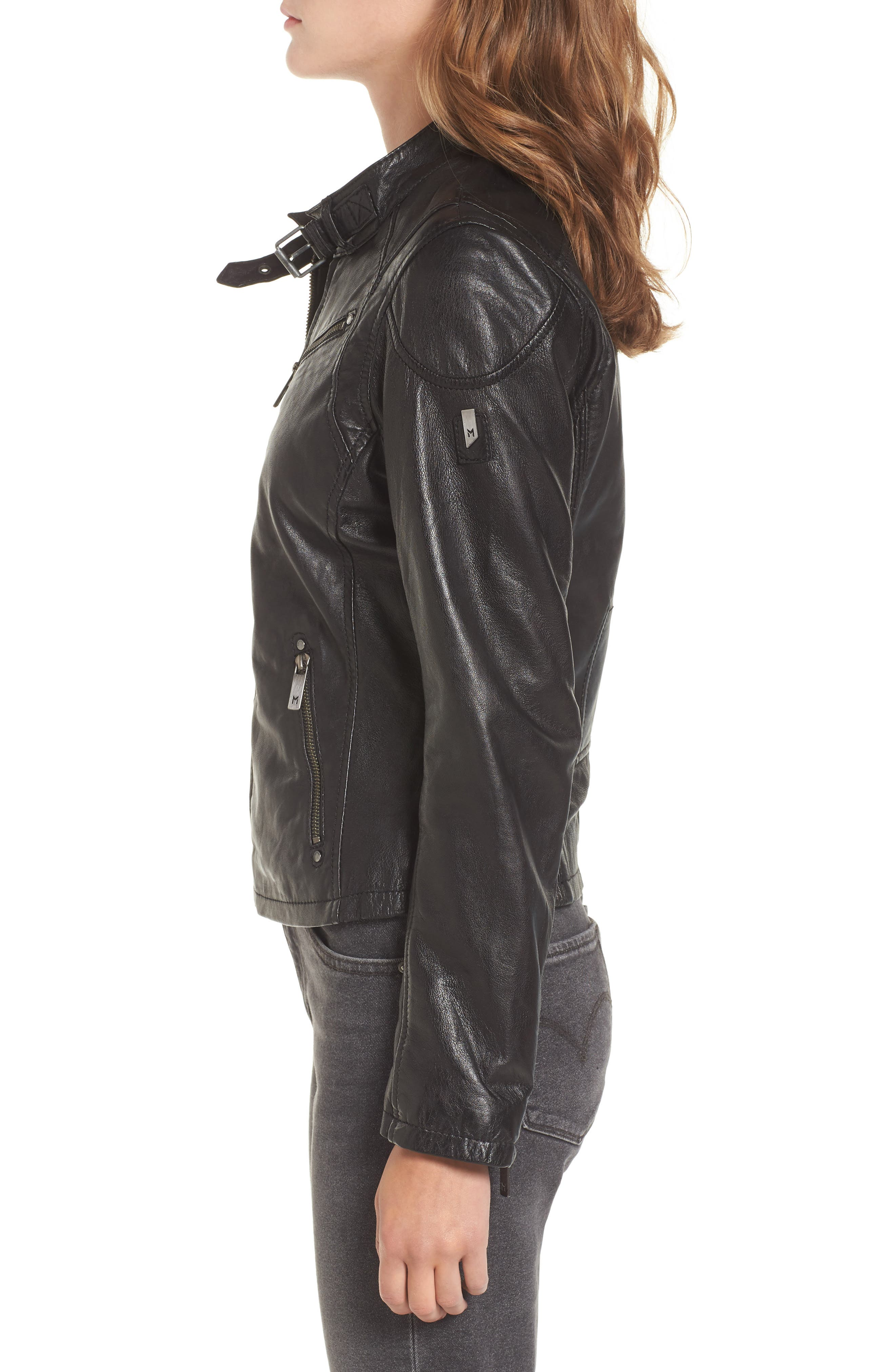 MAURITIUS, Leather Lambskin Leather Moto Jacket, Alternate thumbnail 3, color, 001