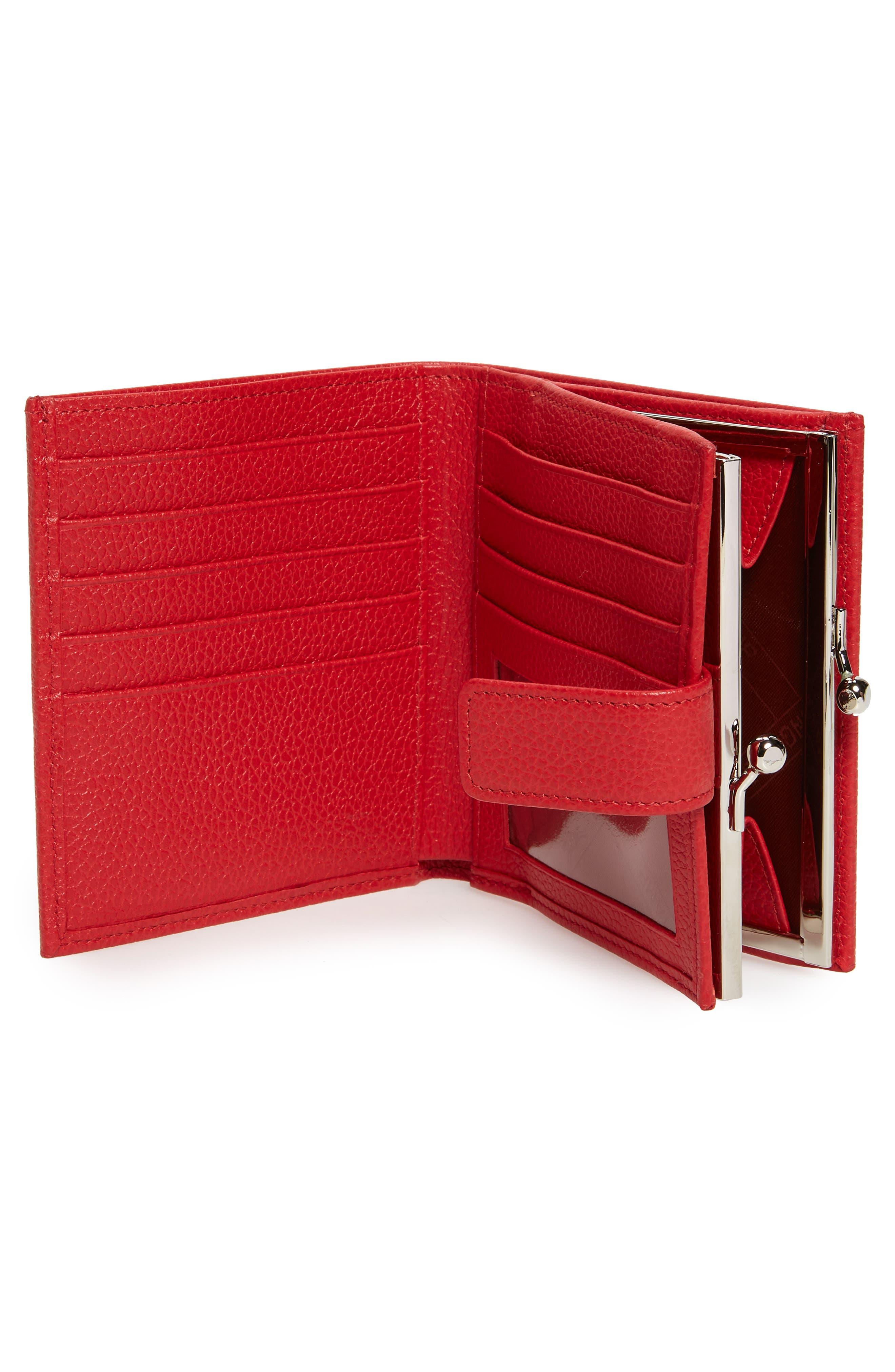 LONGCHAMP, 'Le Foulonne' Pebbled Leather Wallet, Alternate thumbnail 2, color, RED ORANGE