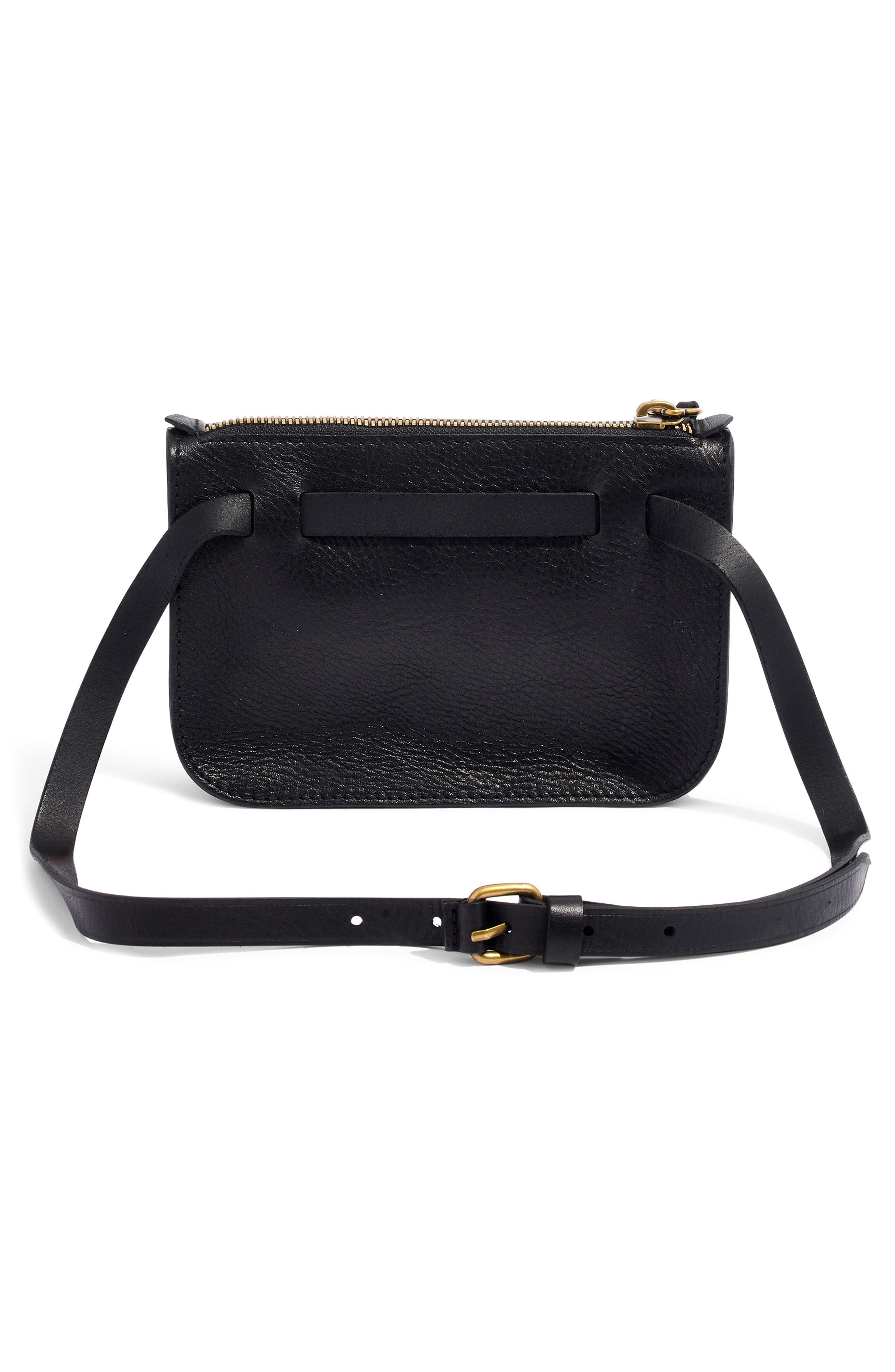 MADEWELL, The Simple Pouch Belt Bag, Alternate thumbnail 4, color, TRUE BLACK
