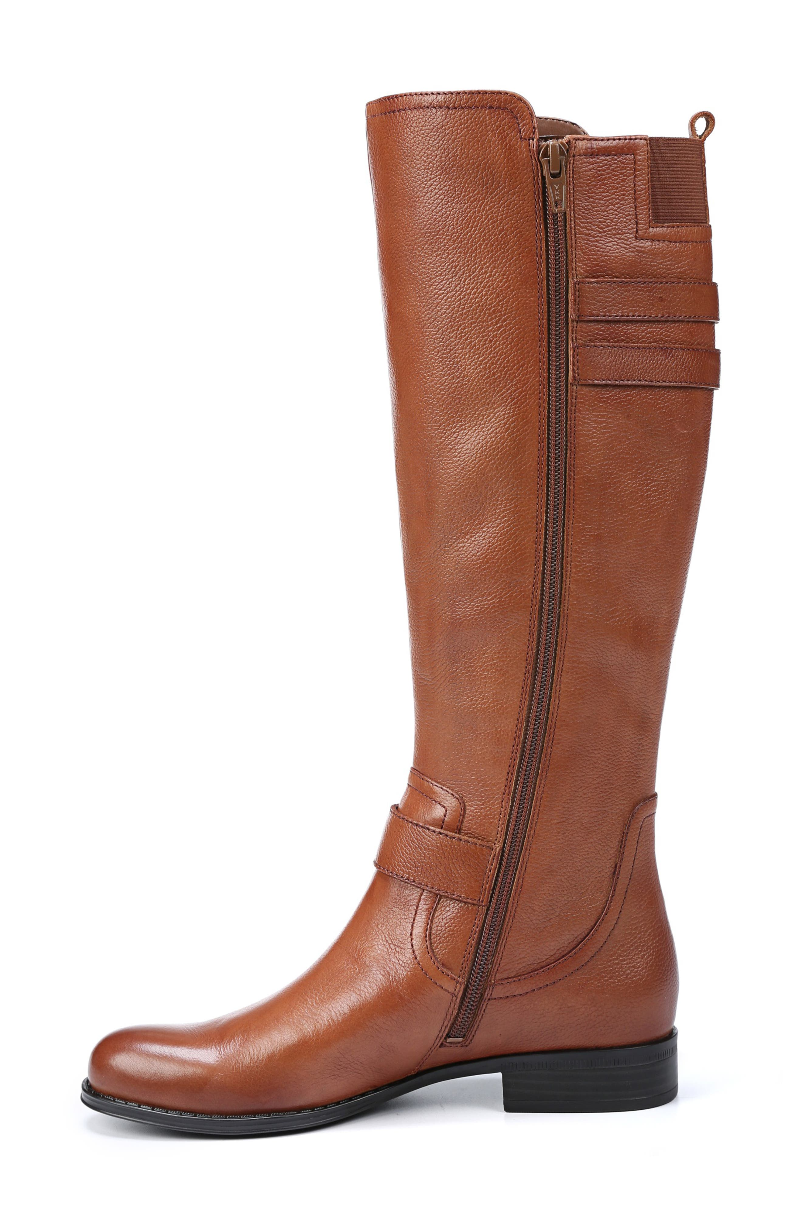 NATURALIZER, Jessie Knee High Riding Boot, Alternate thumbnail 8, color, BANANA BREAD LEATHER