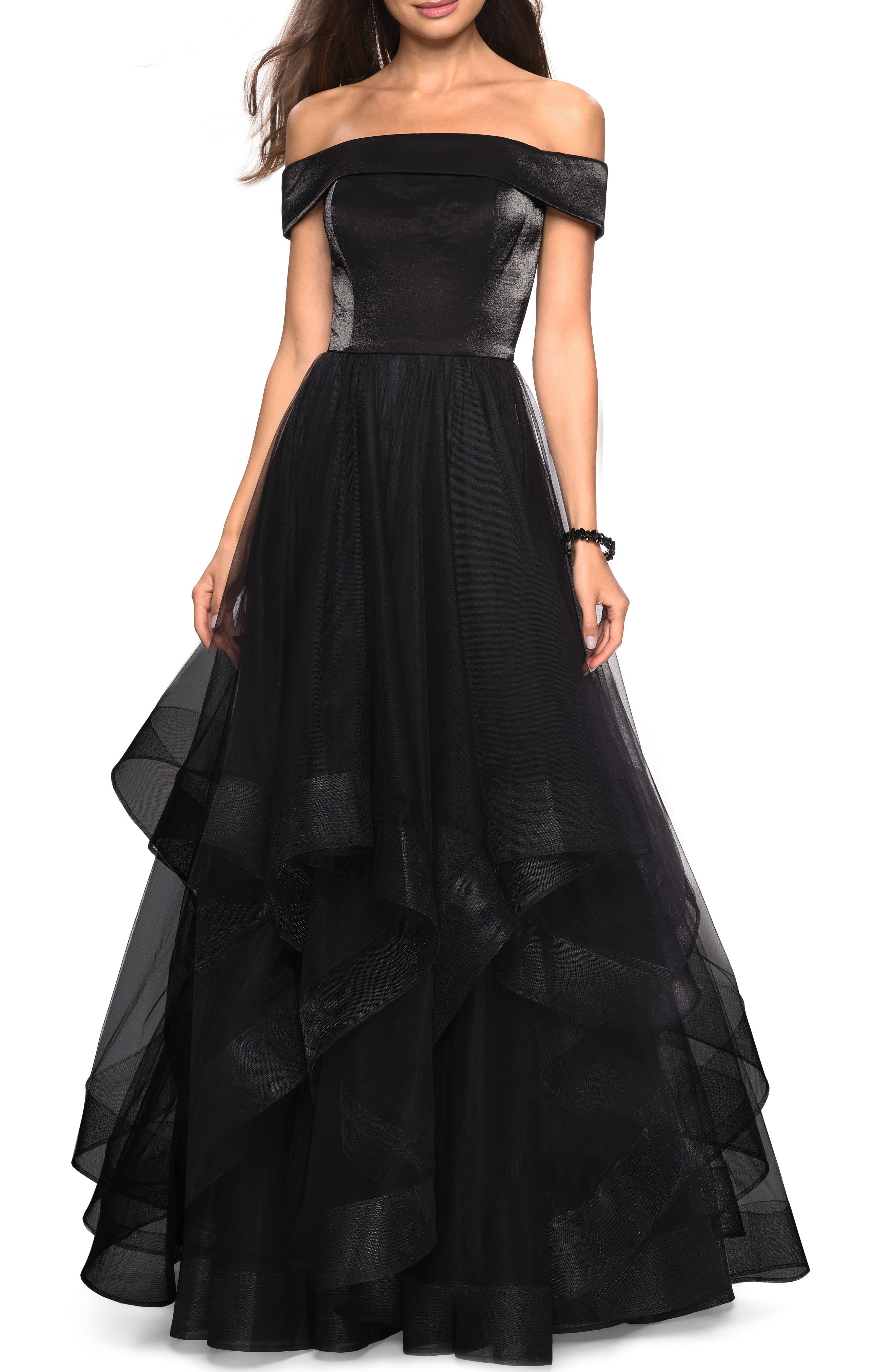 LA FEMME, Off the Shoulder Evening Dress, Main thumbnail 1, color, BLACK