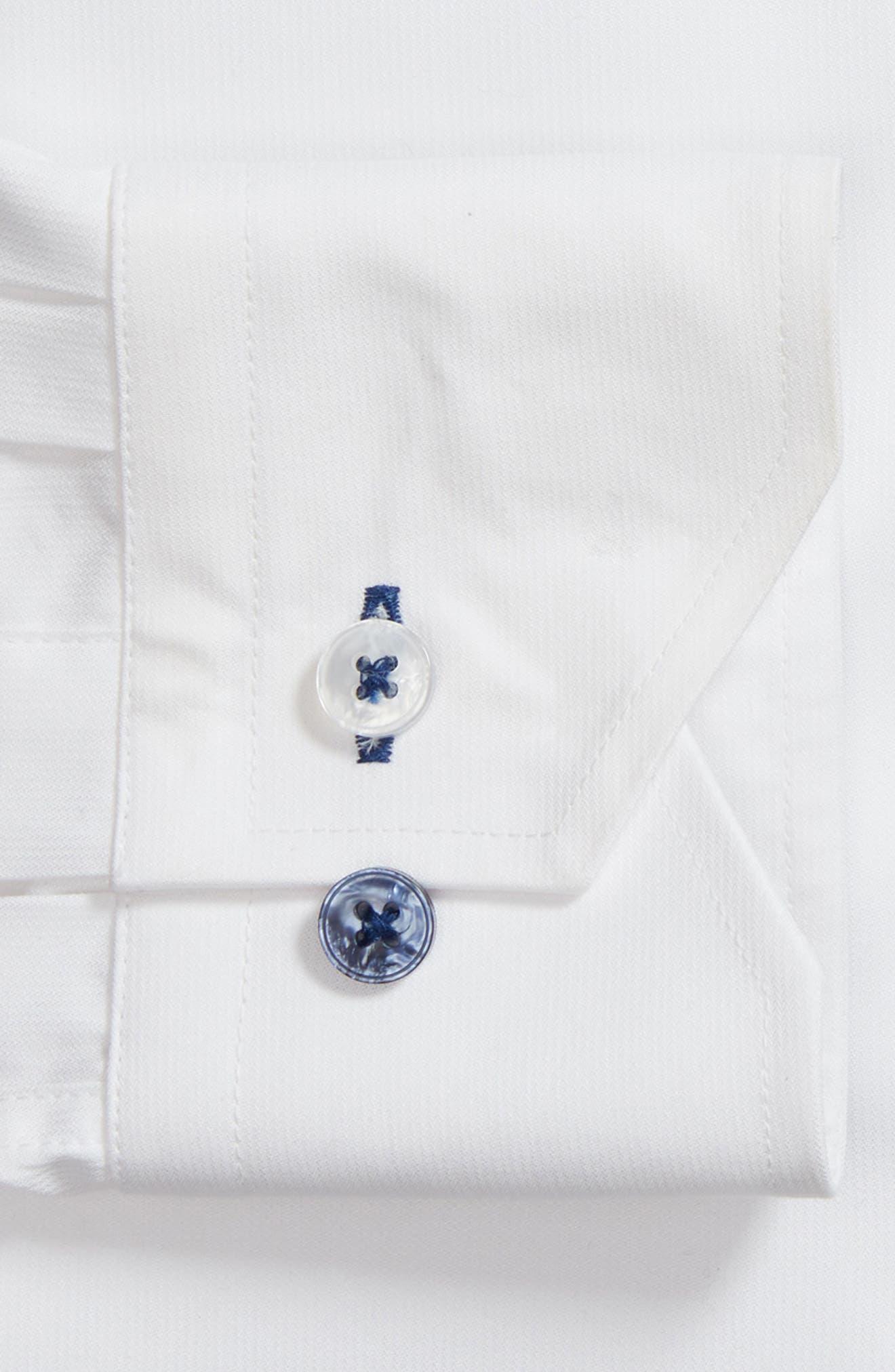LORENZO UOMO, Trim Fit Solid Dress Shirt, Alternate thumbnail 6, color, WHITE