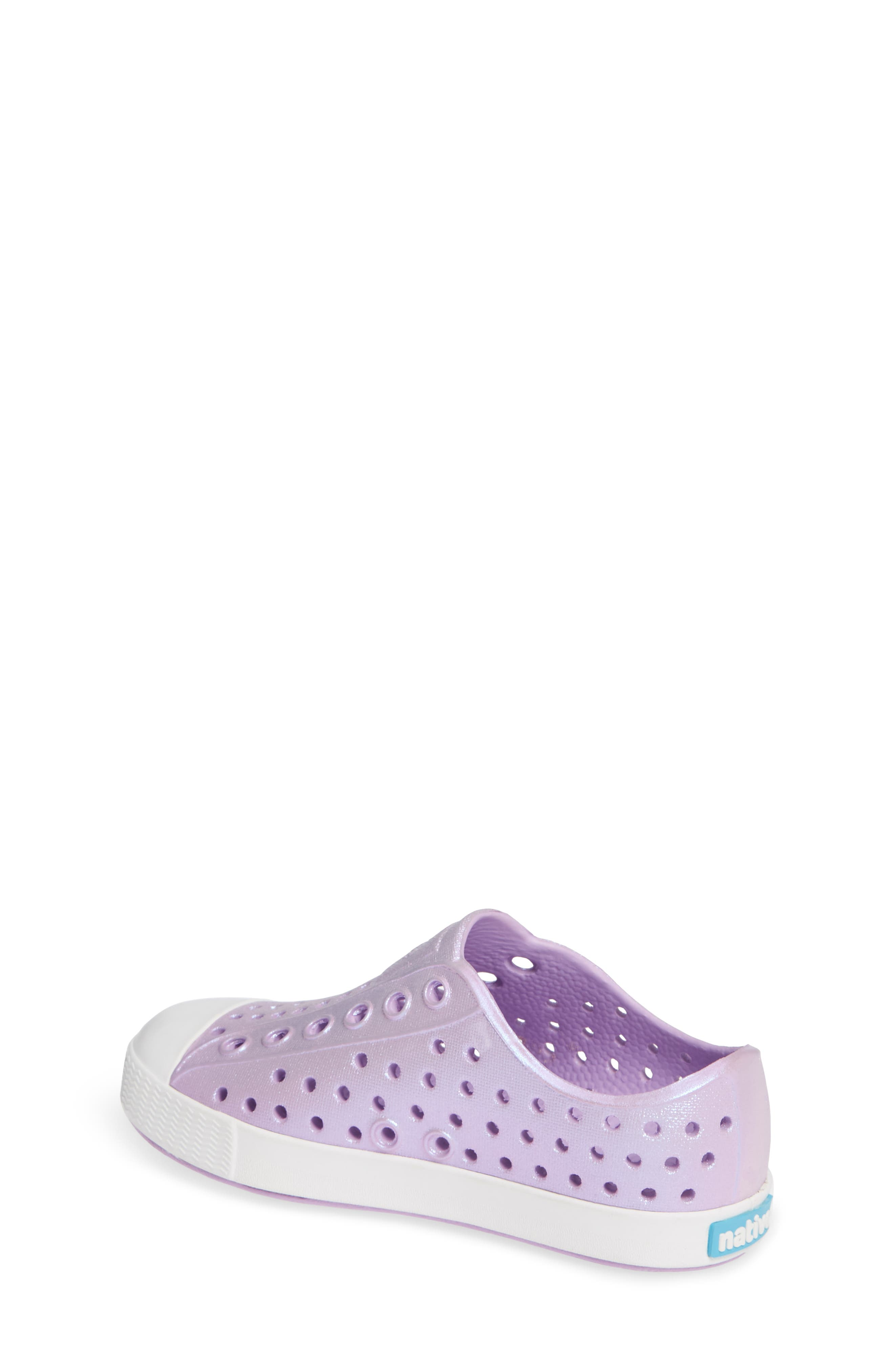 NATIVE SHOES, Jefferson Iridescent Slip-On Vegan Sneaker, Alternate thumbnail 2, color, LAVENDER/ SHELL WHITE/ GALAXY
