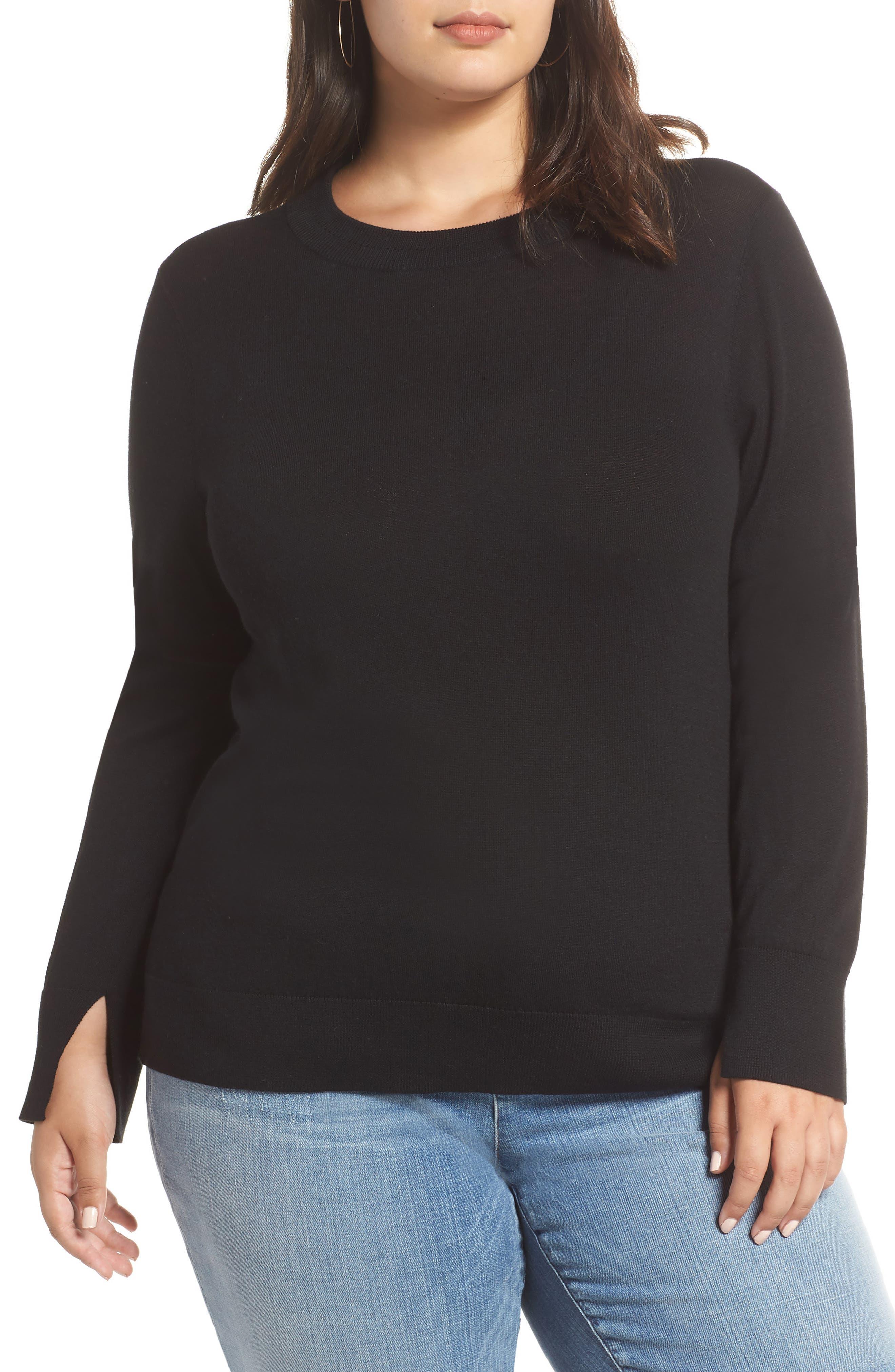 HALOGEN<SUP>®</SUP>, Delta Crewneck Sweater, Main thumbnail 1, color, BLACK