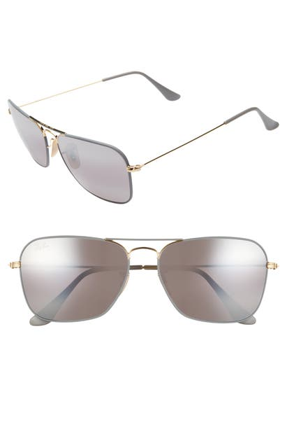 Ray Ban Sunglasses 58MM AVIATOR SUNGLASSES - GOLD/ GREY MIRROR