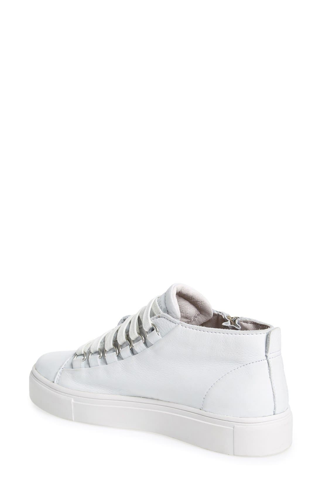 BLACKSTONE, 'LL60' Midi Sneaker, Alternate thumbnail 3, color, WHITE LEATHER