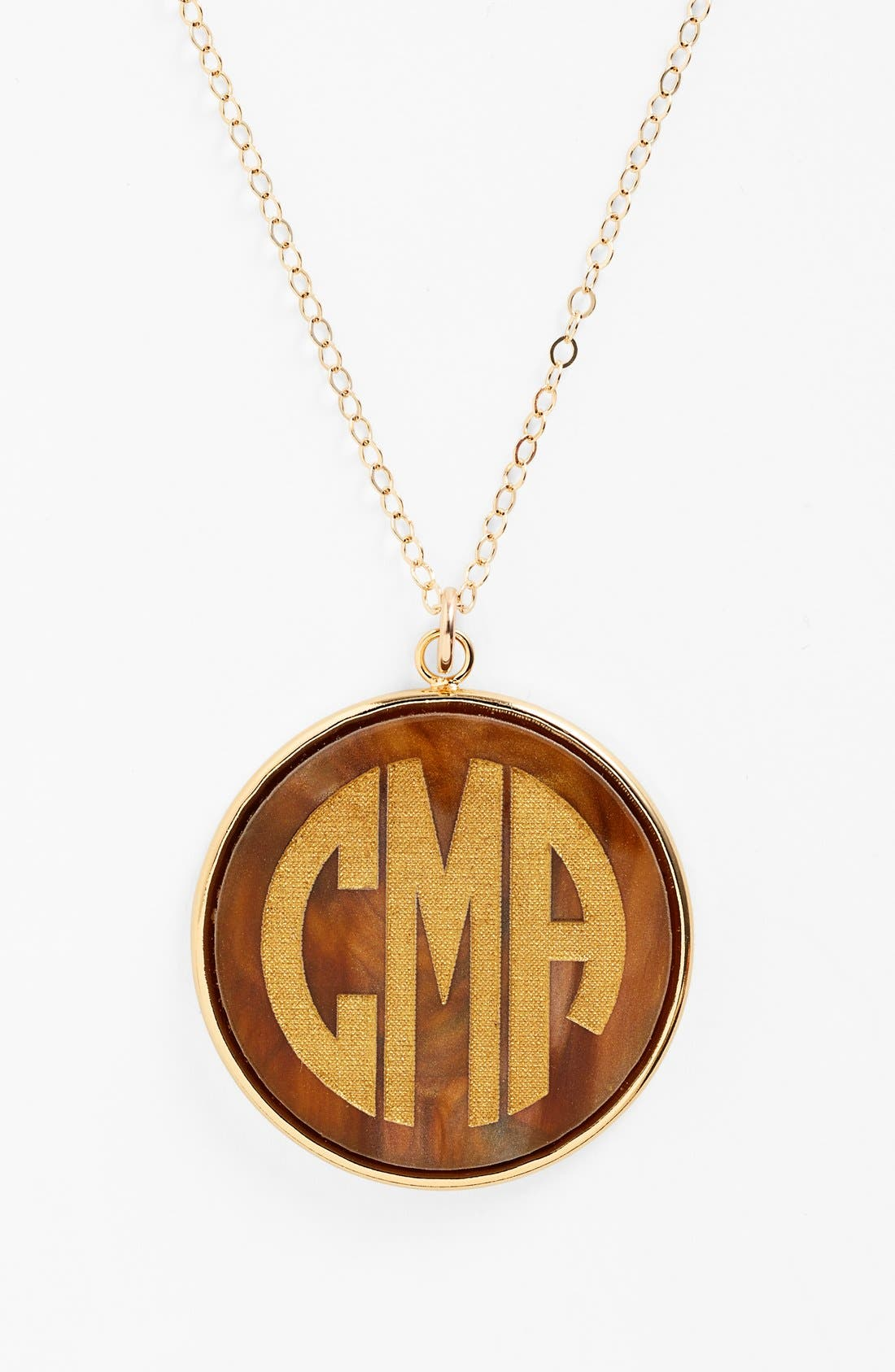 MOON AND LOLA, 'Vineyard' Personalized Monogram Pendant Necklace, Alternate thumbnail 4, color, TIGERS EYE