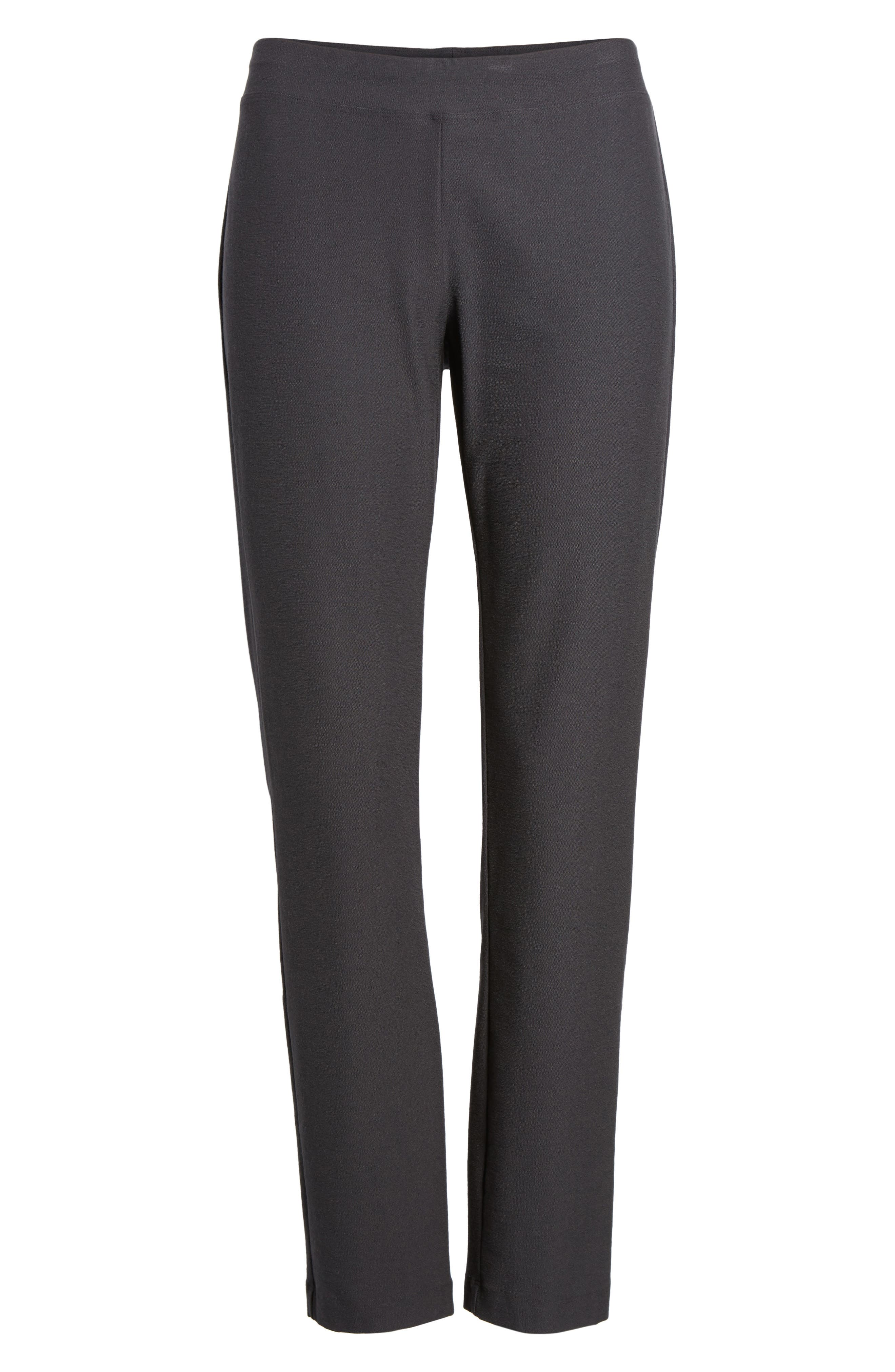 EILEEN FISHER, Stretch Crepe Ankle Pants, Alternate thumbnail 7, color, GRAPHITE
