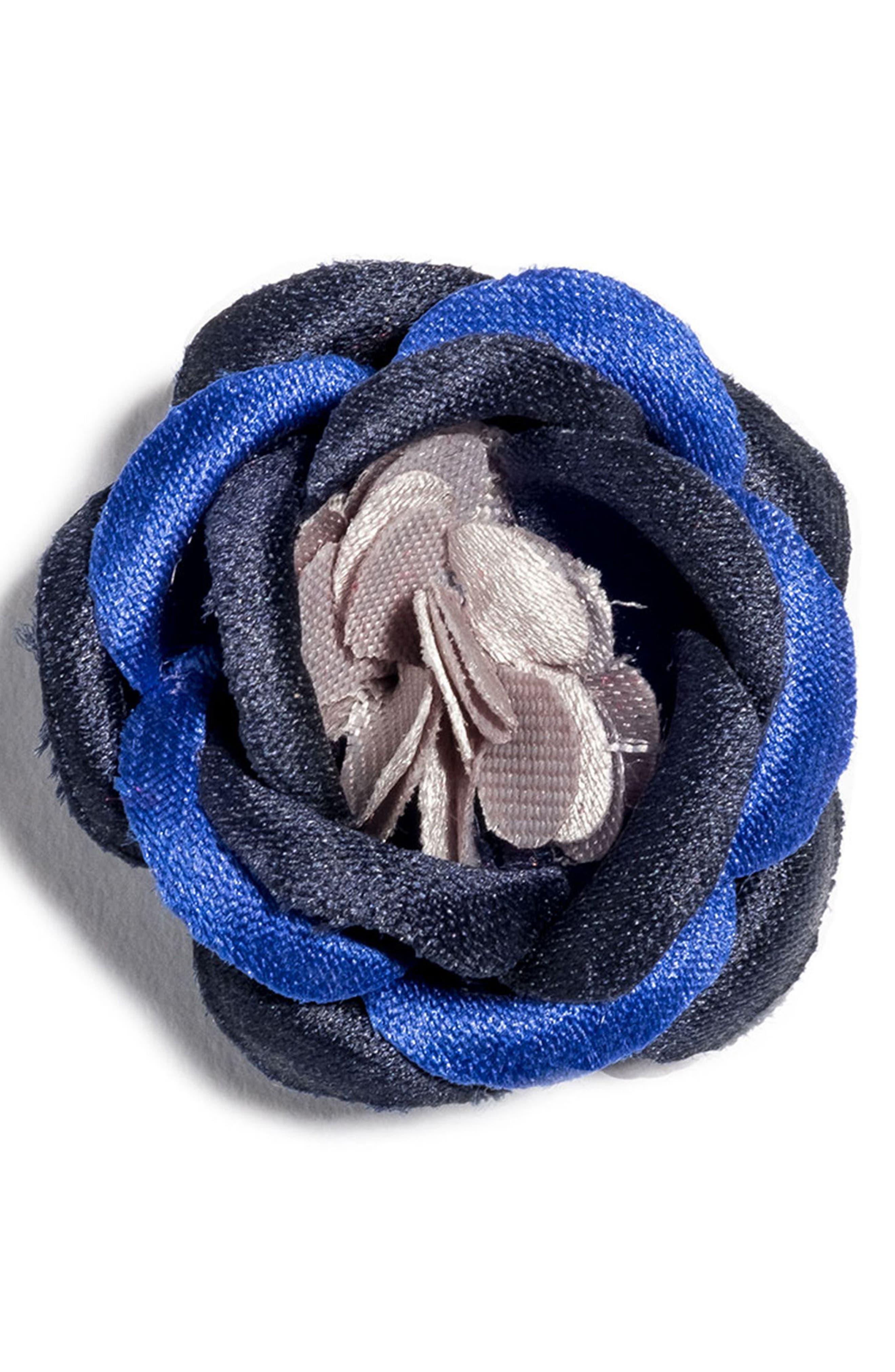 HOOK + ALBERT, Satin Lapel Flower, Main thumbnail 1, color, BLACK/ PURPLE