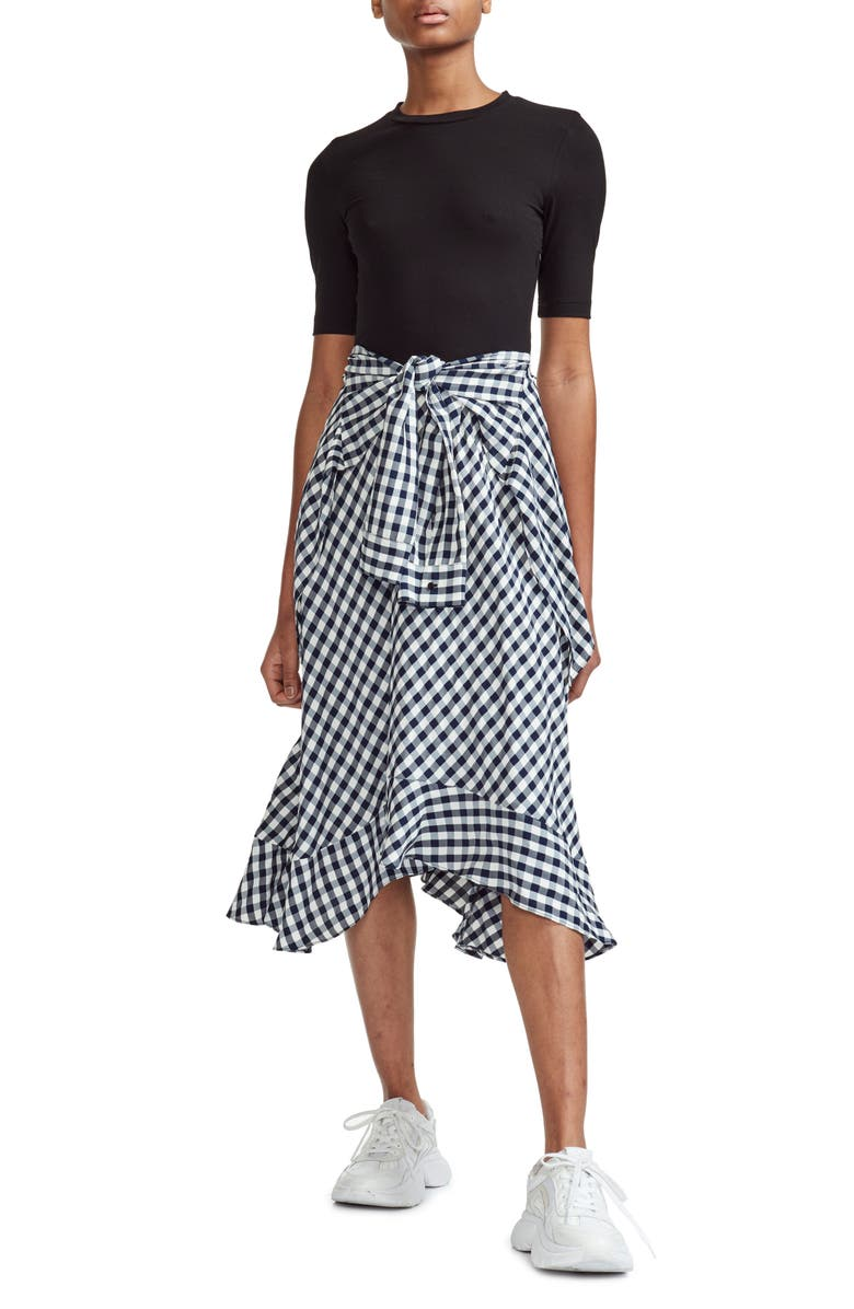 Maje Dresses RAPRI JERSEY BODICE & GINGHAM SKIRT MIDI DRESS