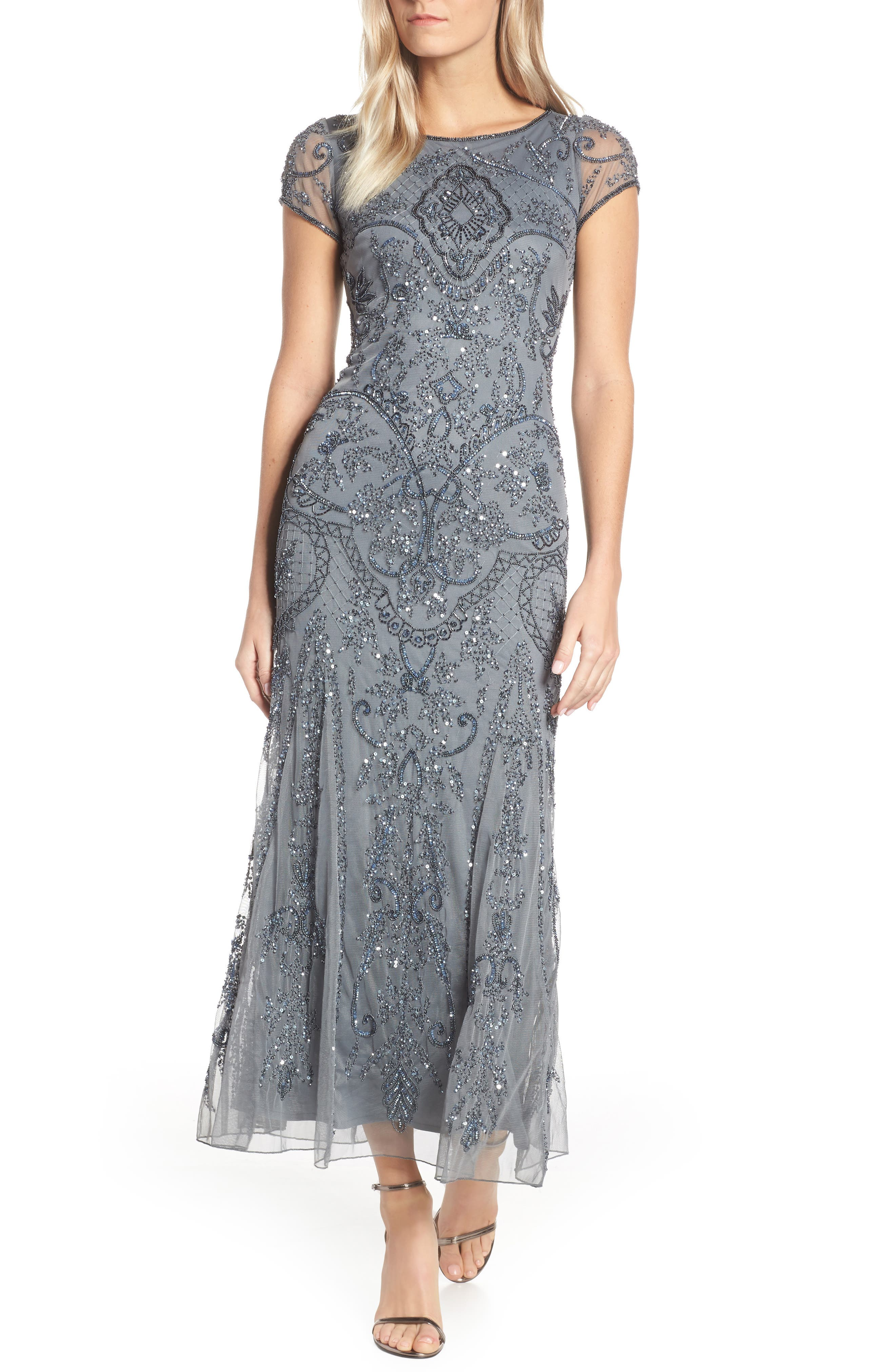 PISARRO NIGHTS Embellished Mesh Gown, Main, color, STEEL