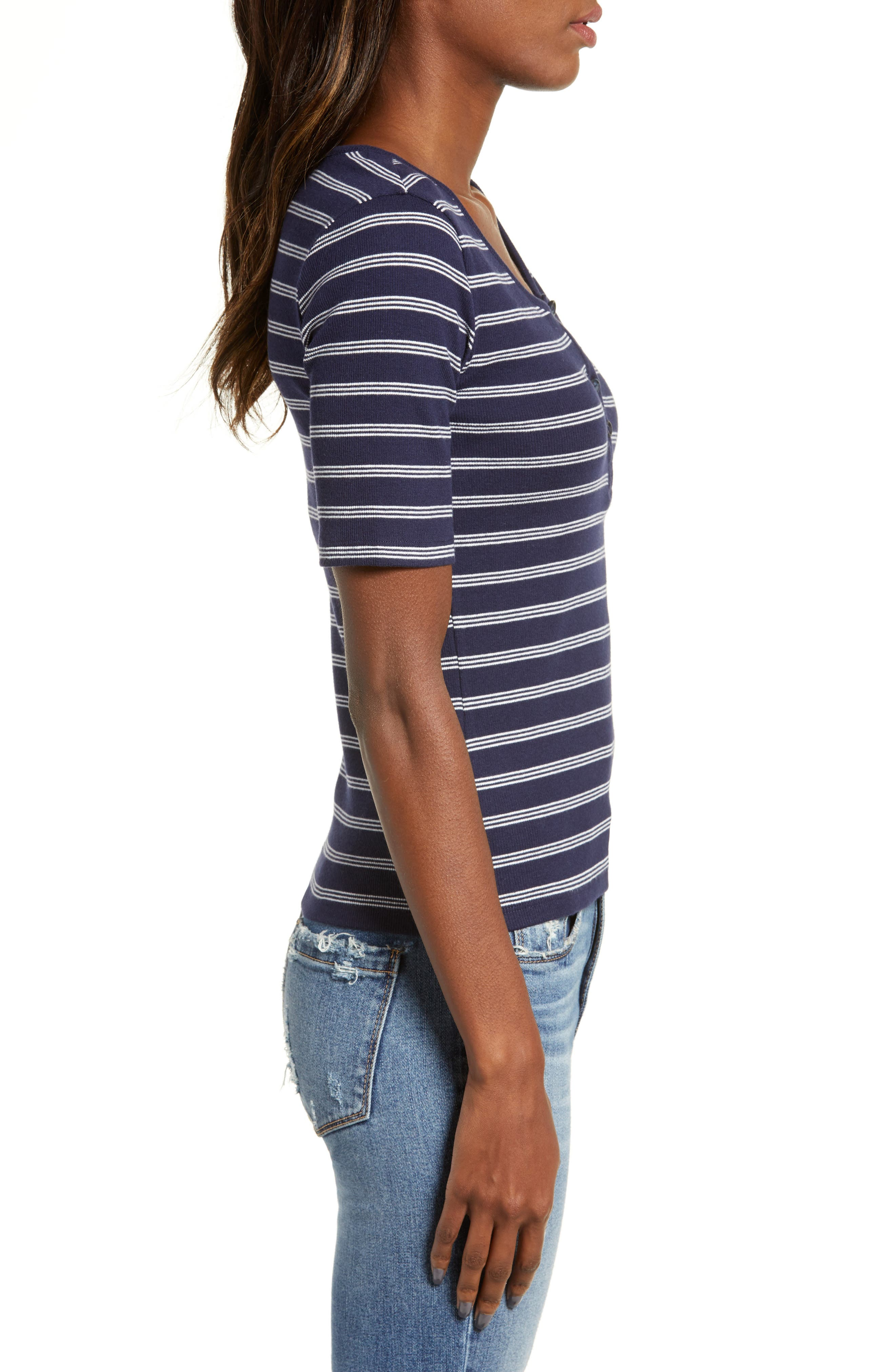 BP., Ribbed Henley Tee, Alternate thumbnail 4, color, NAVY EVENING NANTUCKET STRIPE
