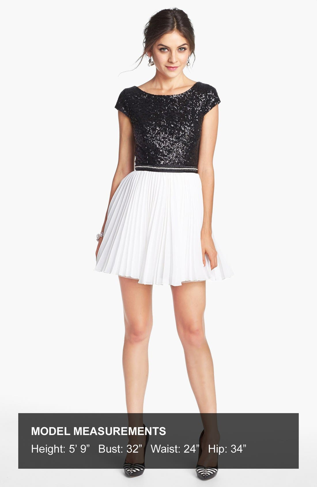 TRIXXI, Pleated Sequin Dress, Alternate thumbnail 3, color, 001