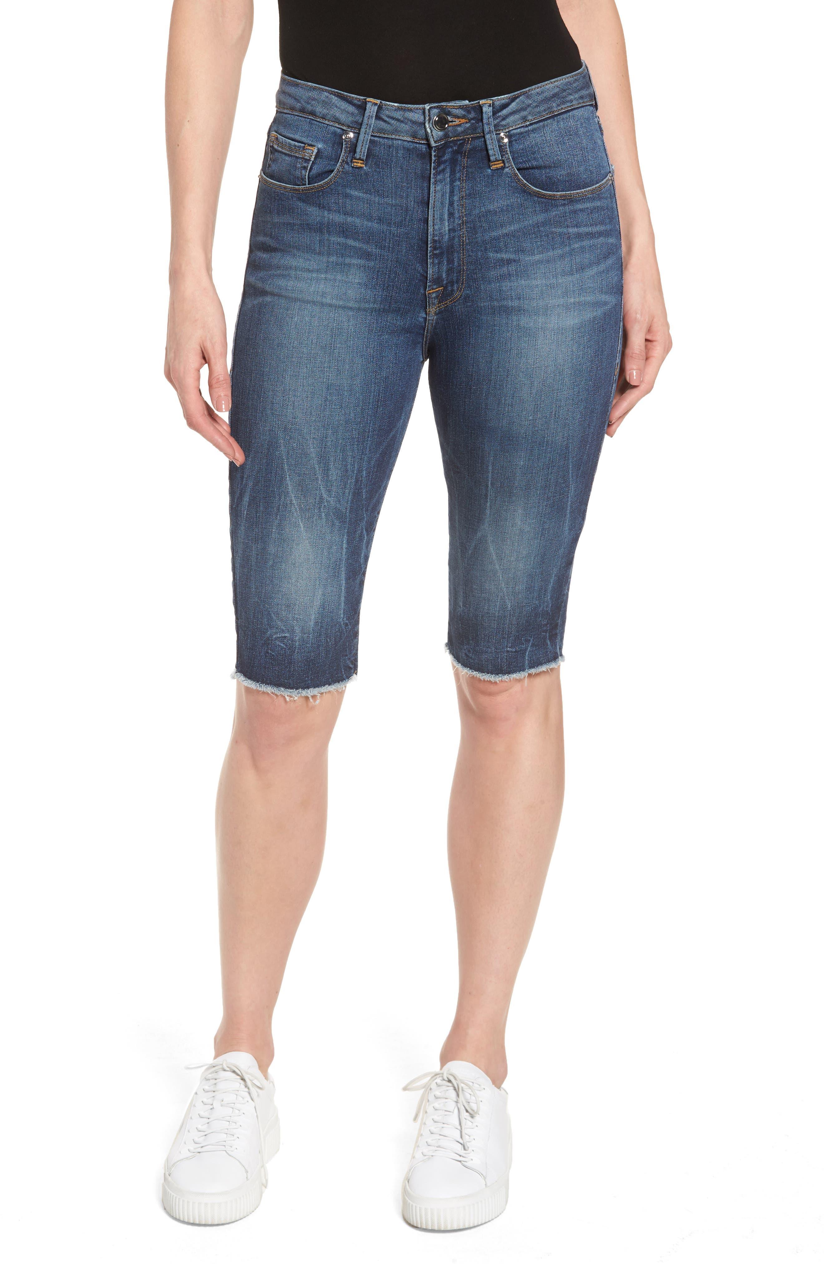 GOOD AMERICAN High Waist Denim Bermuda Shorts, Main, color, 402