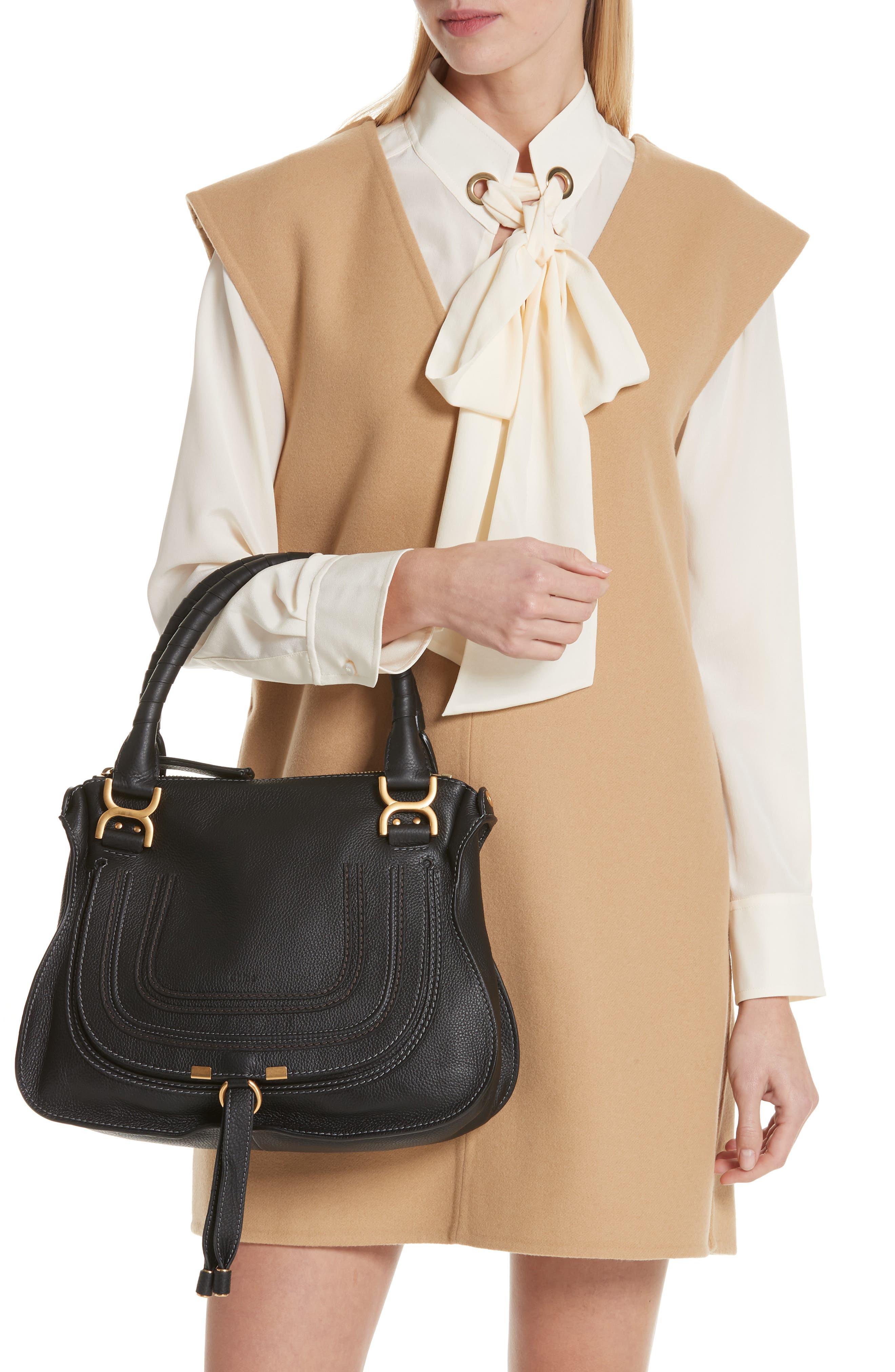 CHLOÉ, 'Medium Marcie' Leather Satchel, Alternate thumbnail 2, color, BLACK GOLD HRDWRE