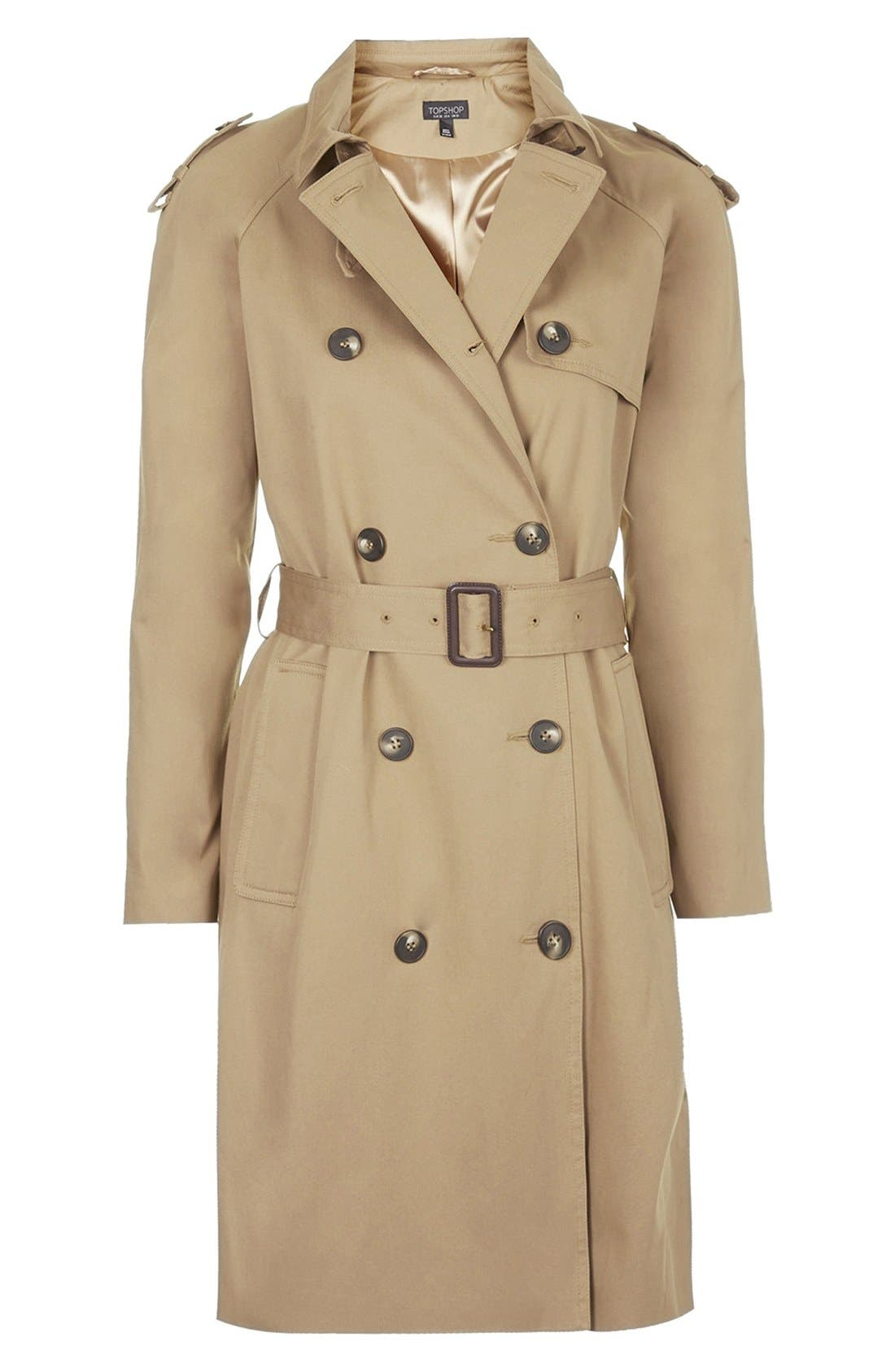 TOPSHOP, Double Breasted Cotton Trench, Alternate thumbnail 3, color, 252