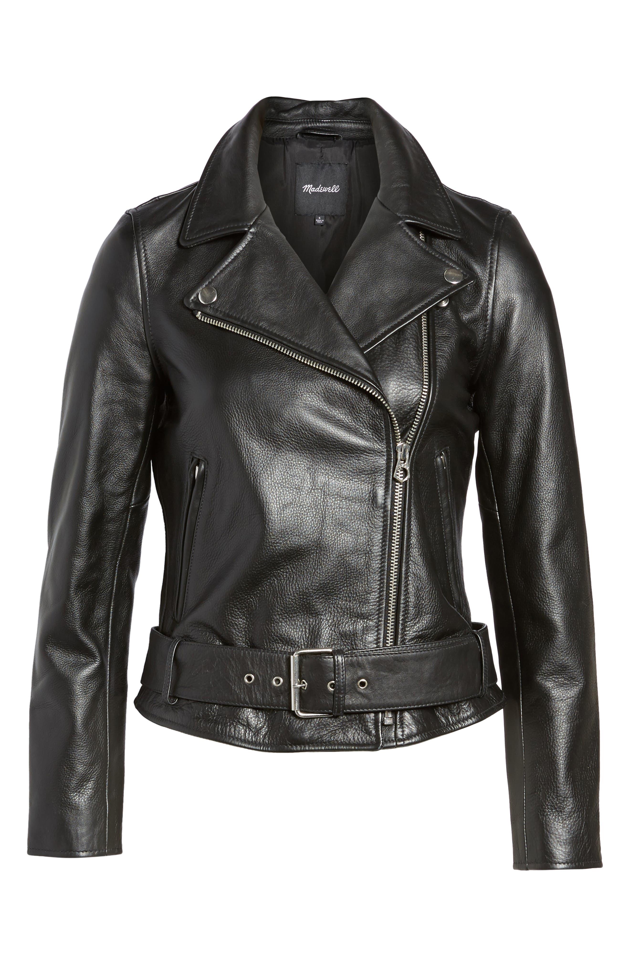 MADEWELL, Ultimate Leather Jacket, Alternate thumbnail 5, color, TRUE BLACK