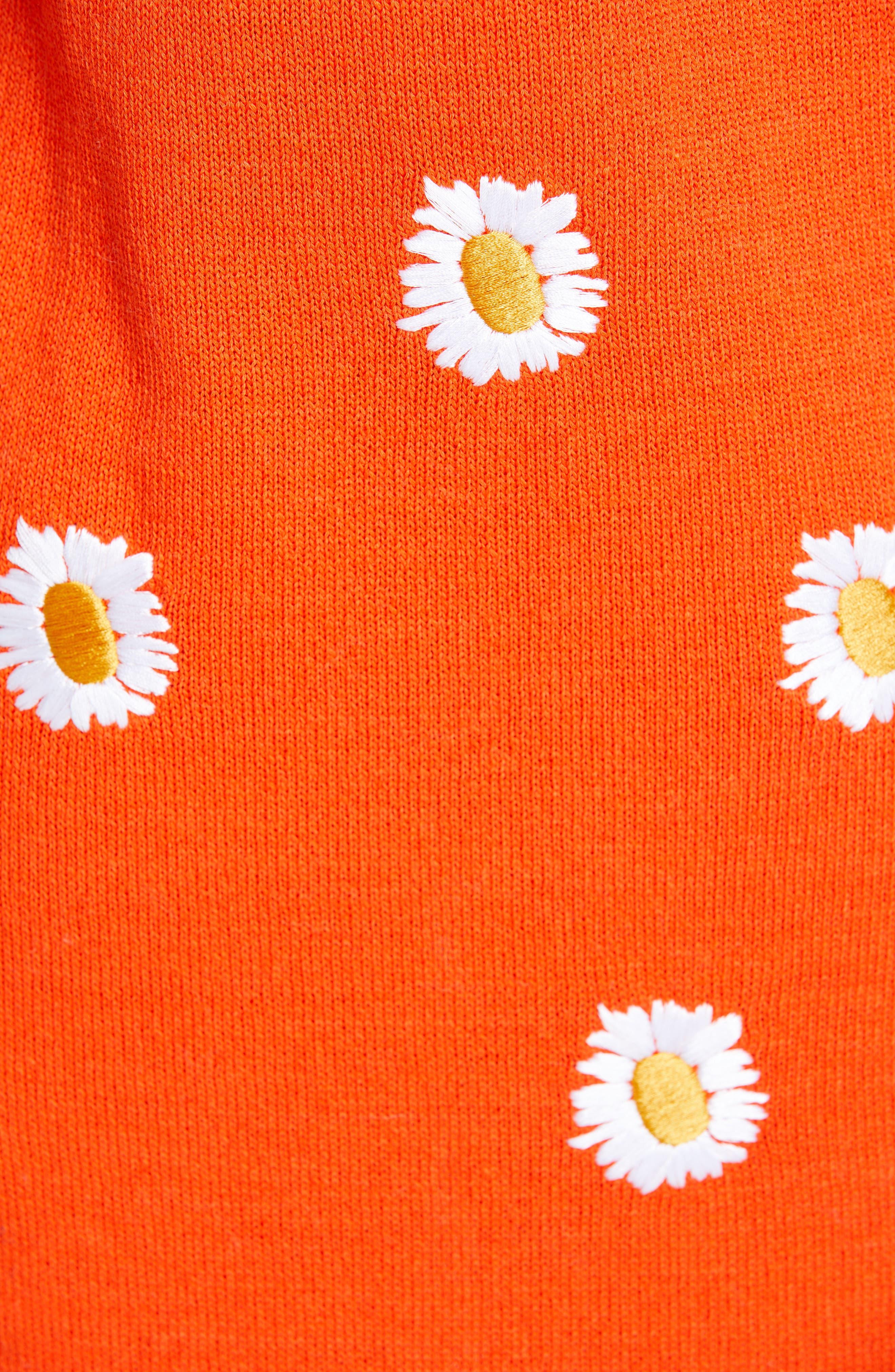 MANSUR GAVRIEL, Daisy Embroidered Midi Sweater Dress, Alternate thumbnail 6, color, ORANGE / WHITE