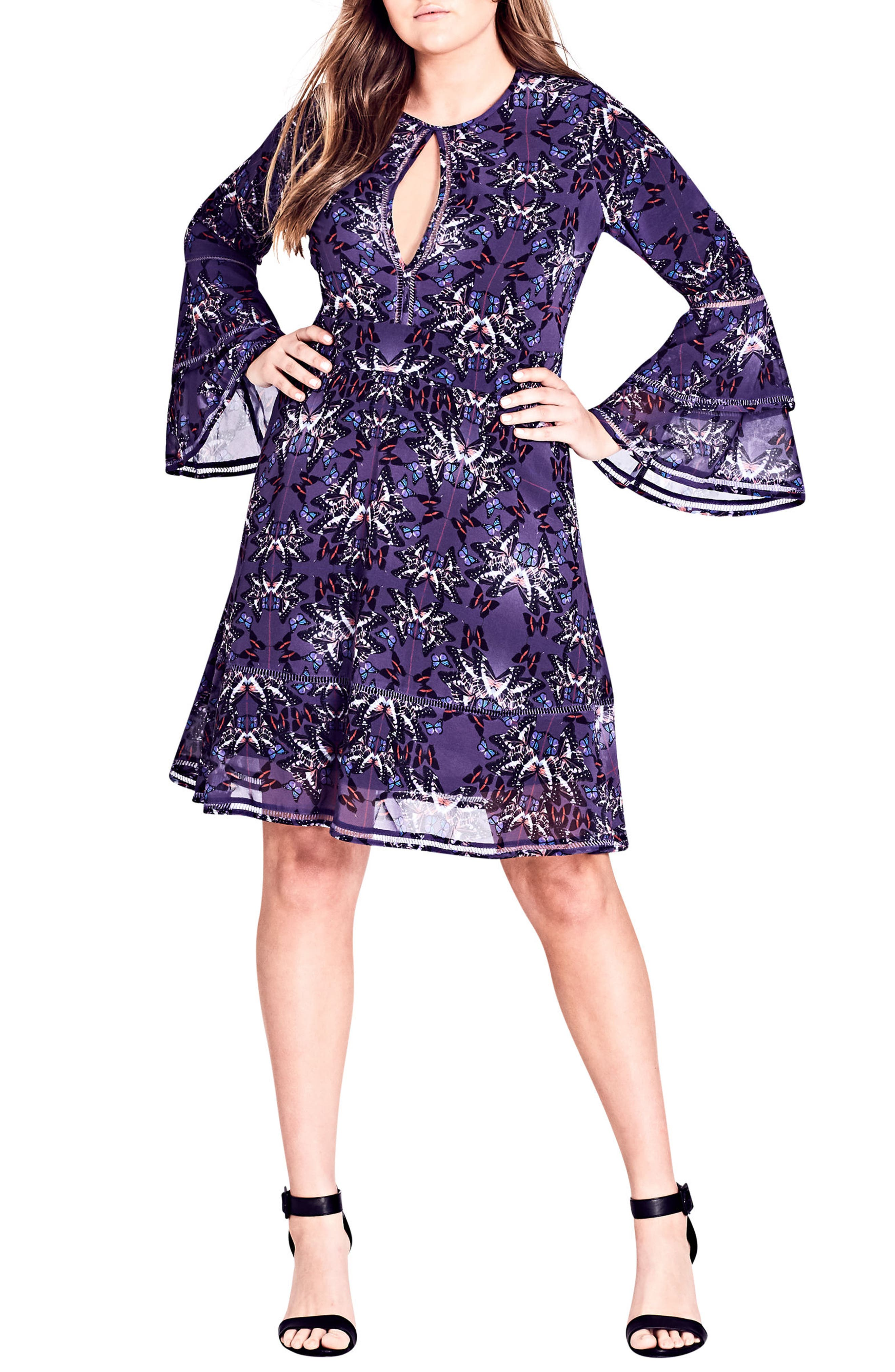 Plus Size City Chic Butterflies Fit & Flare Dress, Blue