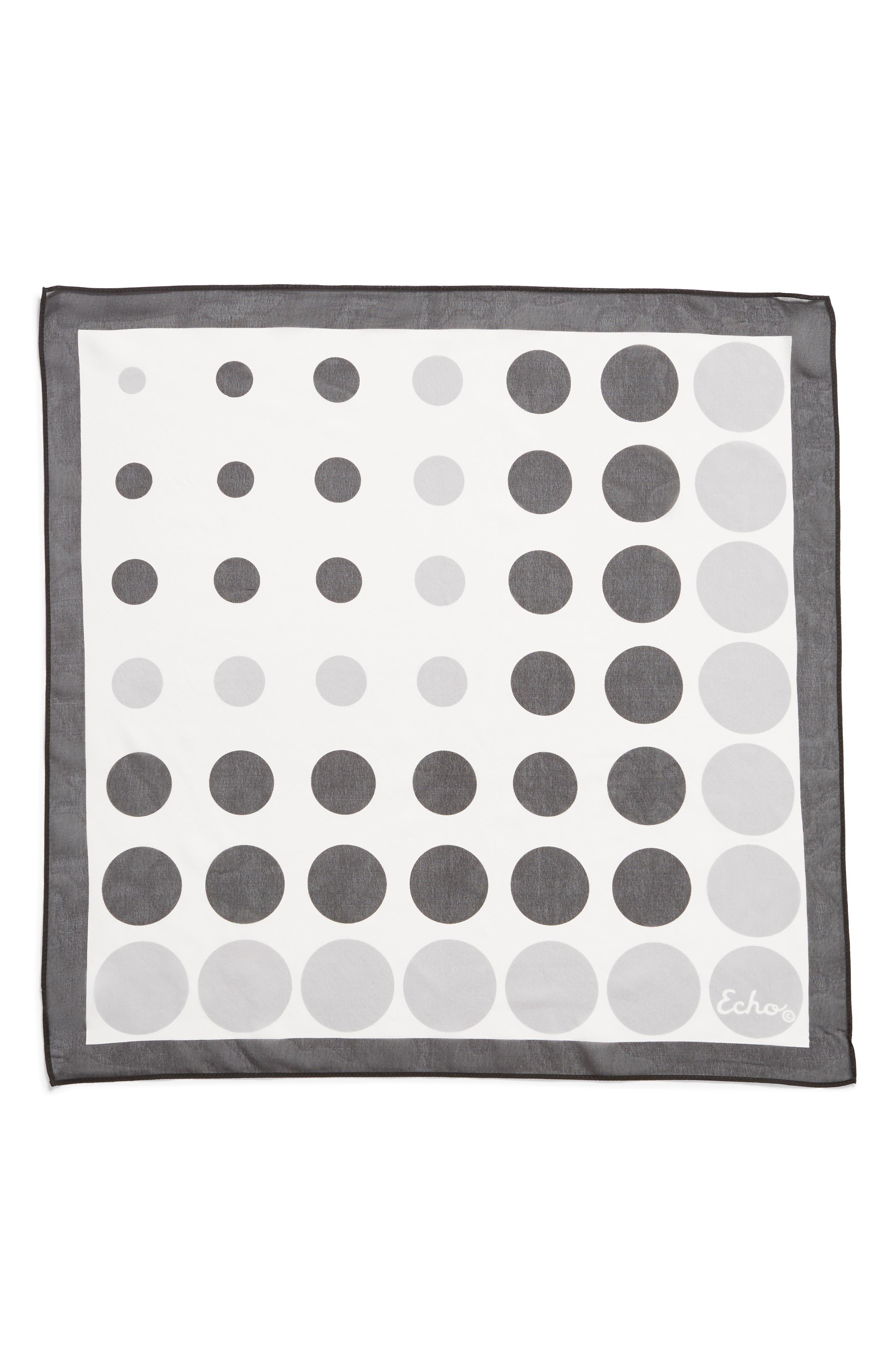 ECHO, Polka Dot Square Silk Scarf, Alternate thumbnail 3, color, WHITE