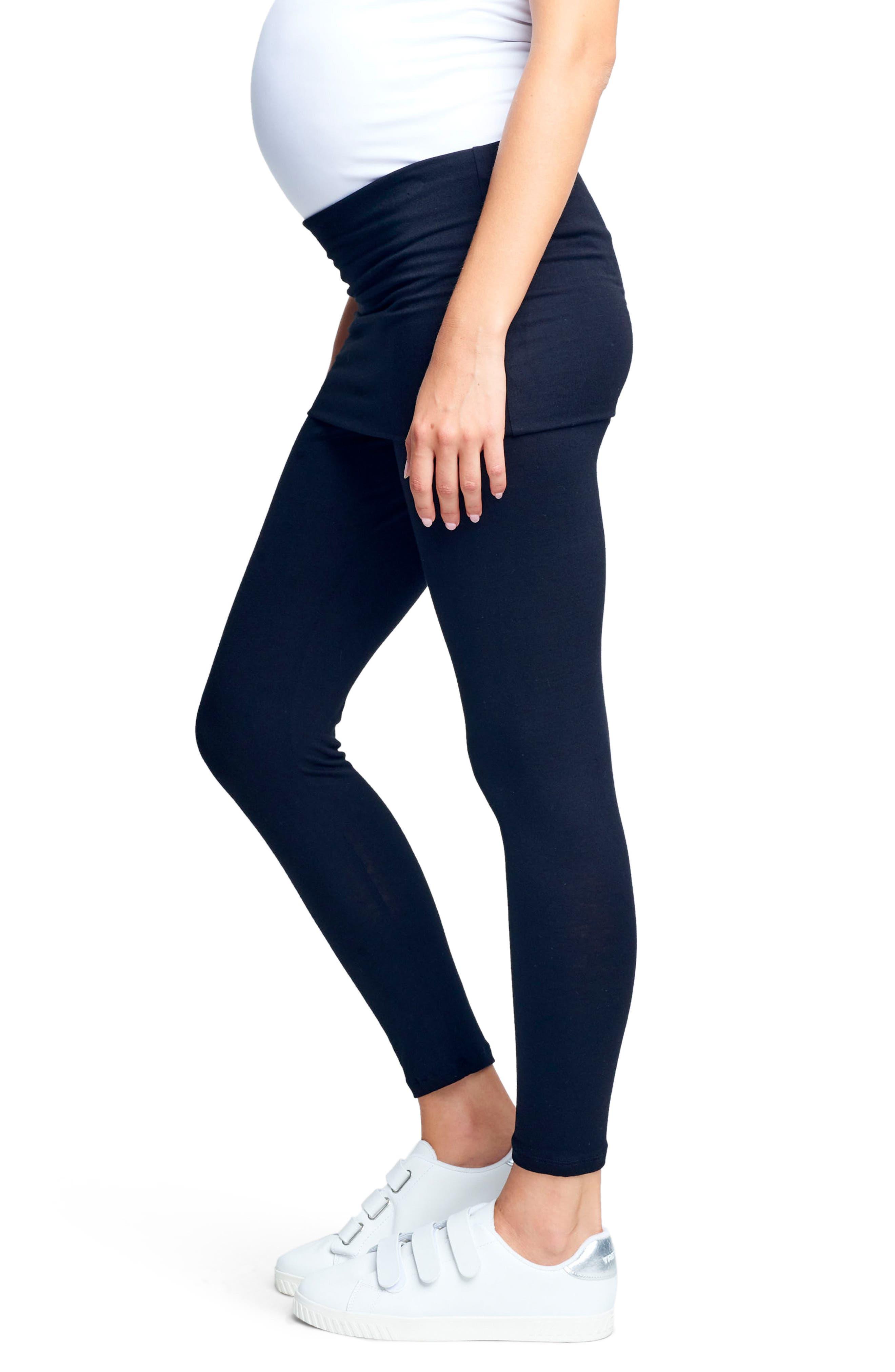 MATERNAL AMERICA, Belly Support Maternity Leggings, Alternate thumbnail 2, color, BLACK
