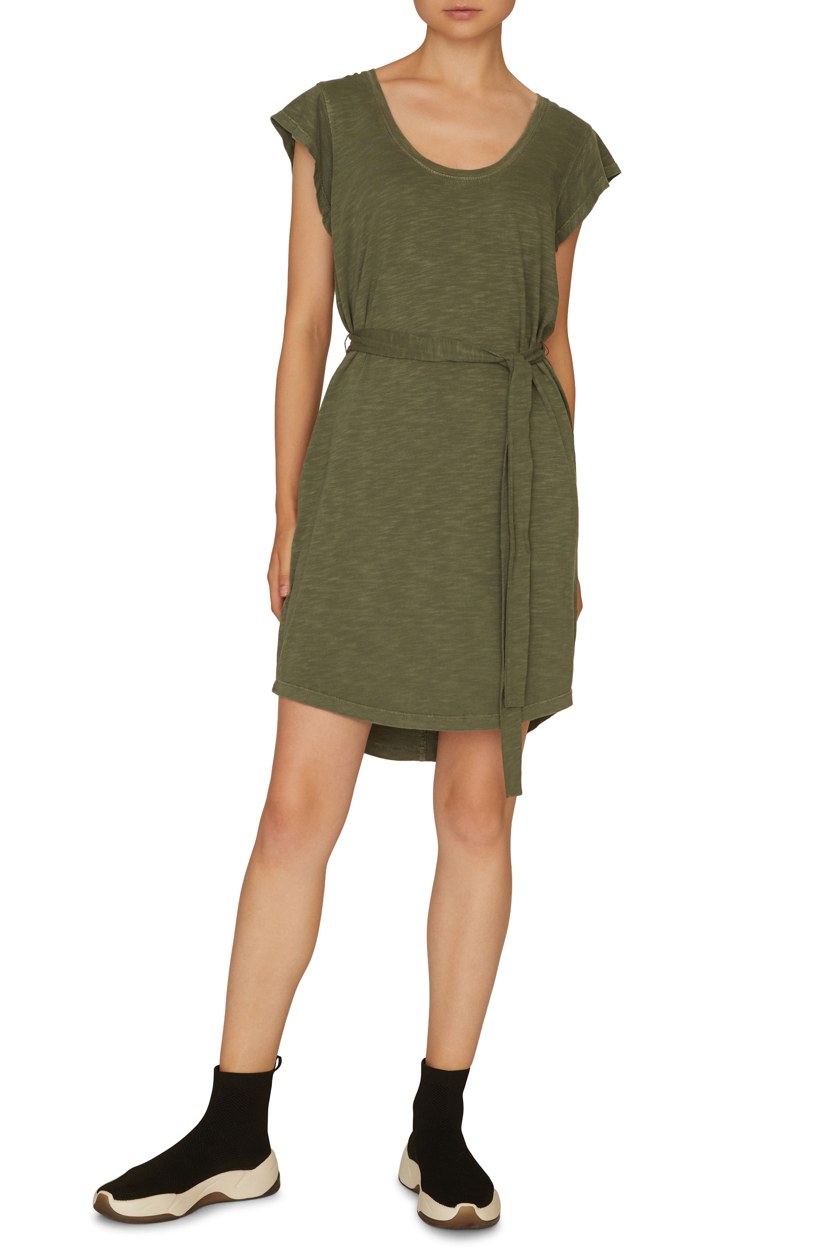Petite Sanctuary Ruby Belted T-Shirt Dress, Green