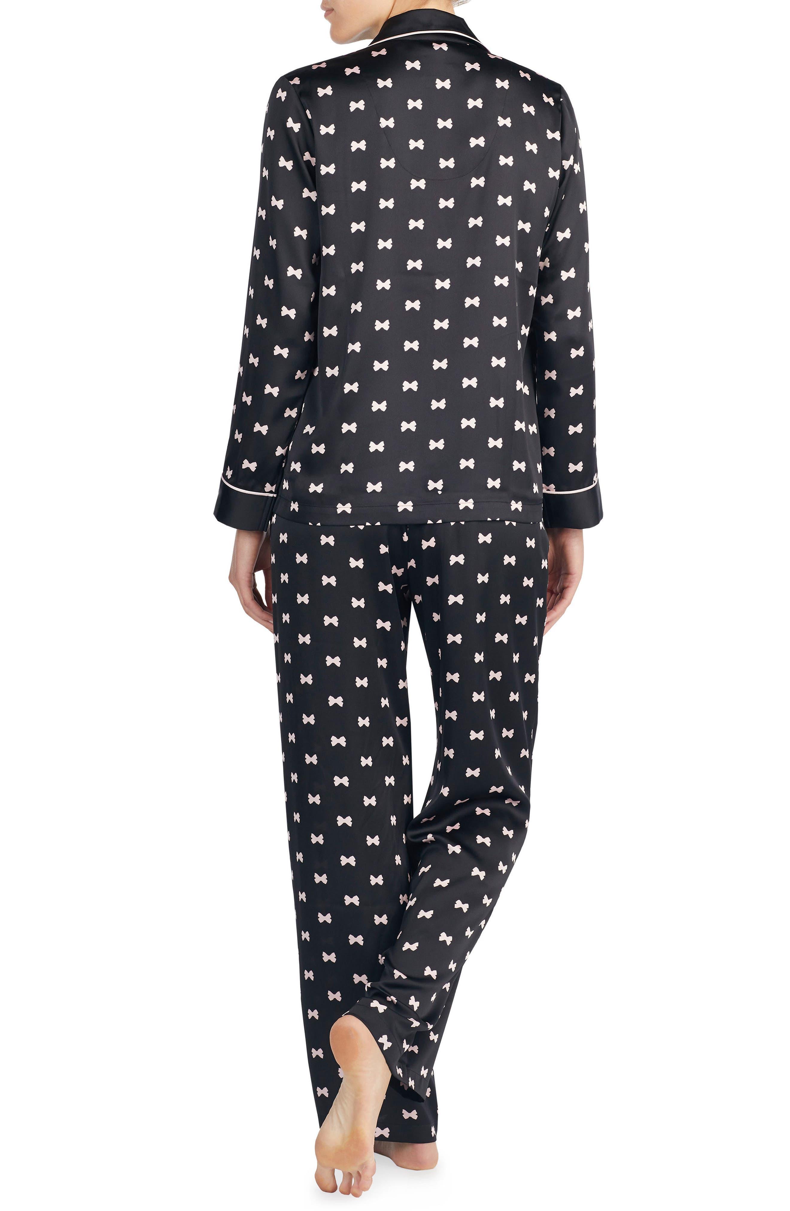 KATE SPADE NEW YORK, print charmeuse pajamas, Alternate thumbnail 3, color, BOWS