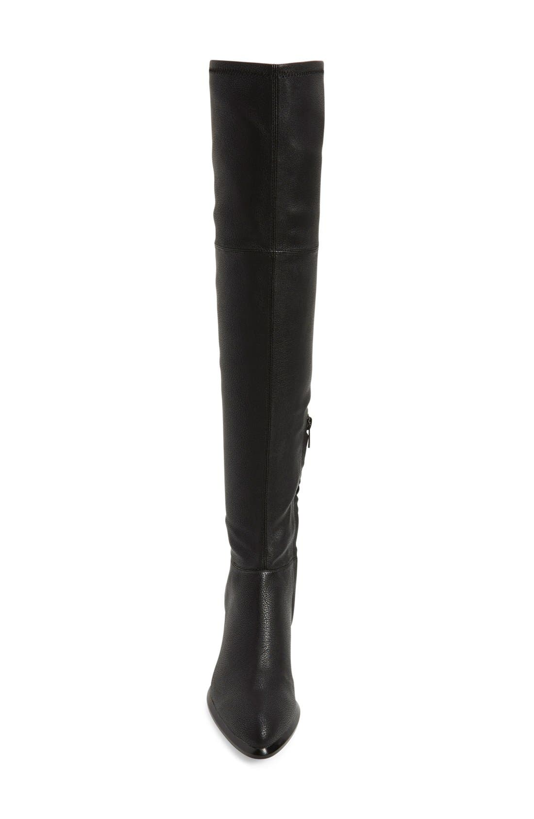CALVIN KLEIN, 'Nani' Over The Knee Boot, Alternate thumbnail 4, color, 001